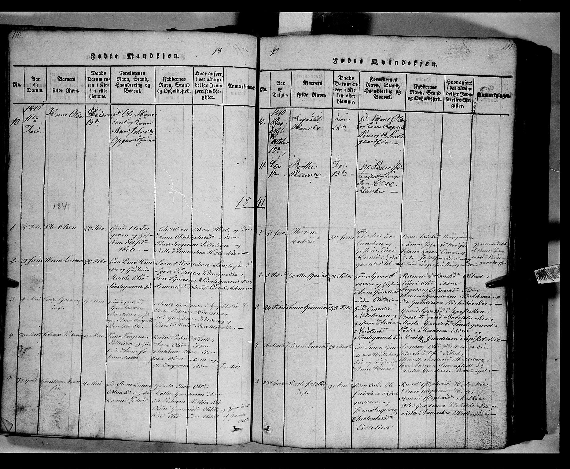 SAH, Gausdal prestekontor, Klokkerbok nr. 2, 1818-1874, s. 110-111