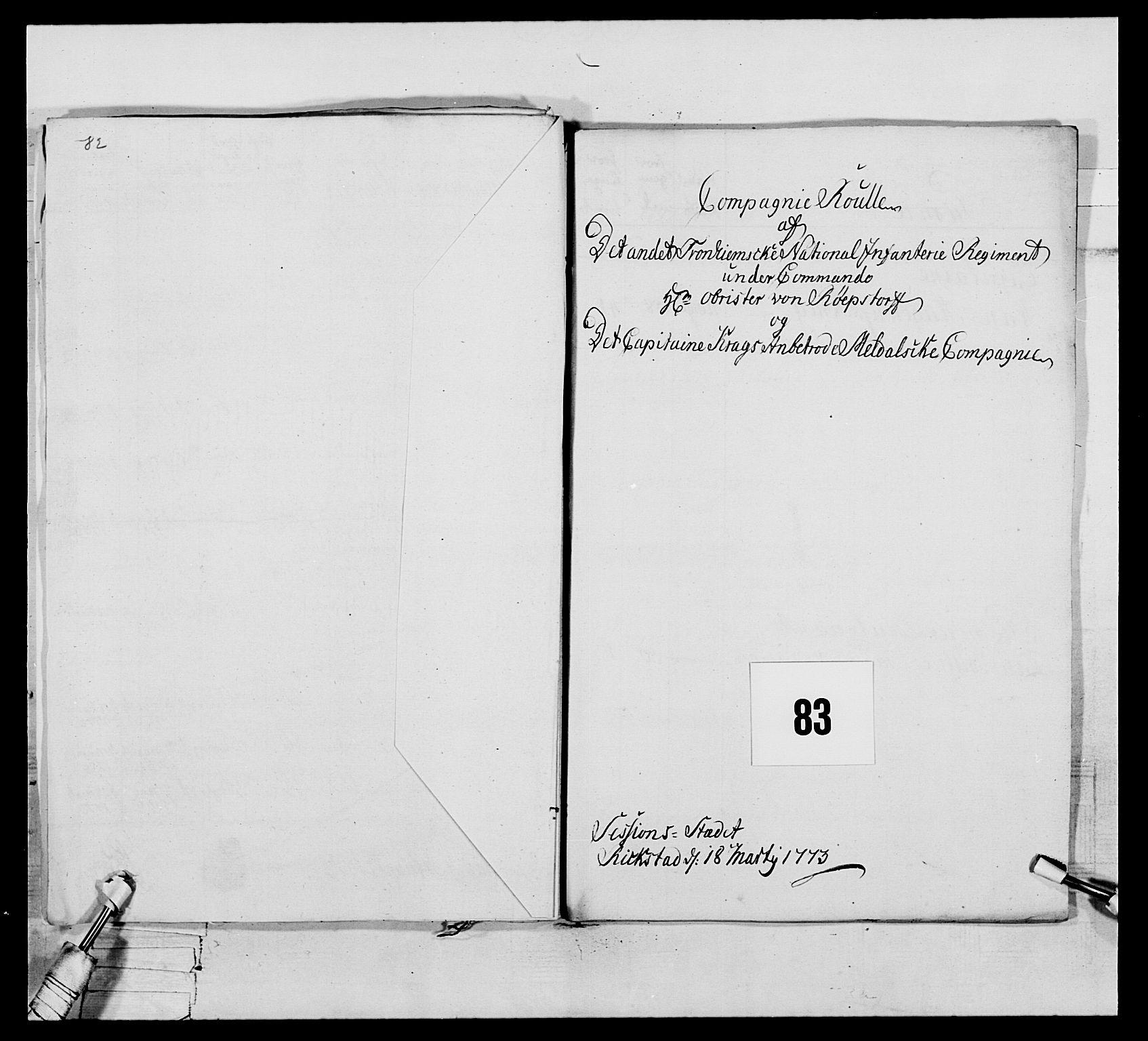 RA, Generalitets- og kommissariatskollegiet, Det kongelige norske kommissariatskollegium, E/Eh/L0076: 2. Trondheimske nasjonale infanteriregiment, 1766-1773, s. 422