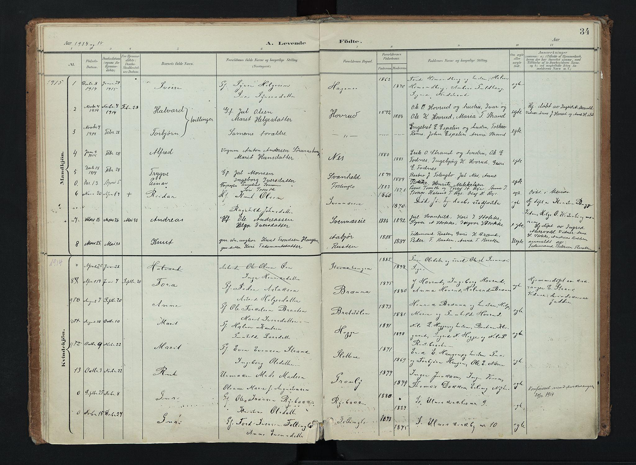 SAH, Nord-Aurdal prestekontor, Ministerialbok nr. 16, 1897-1925, s. 34
