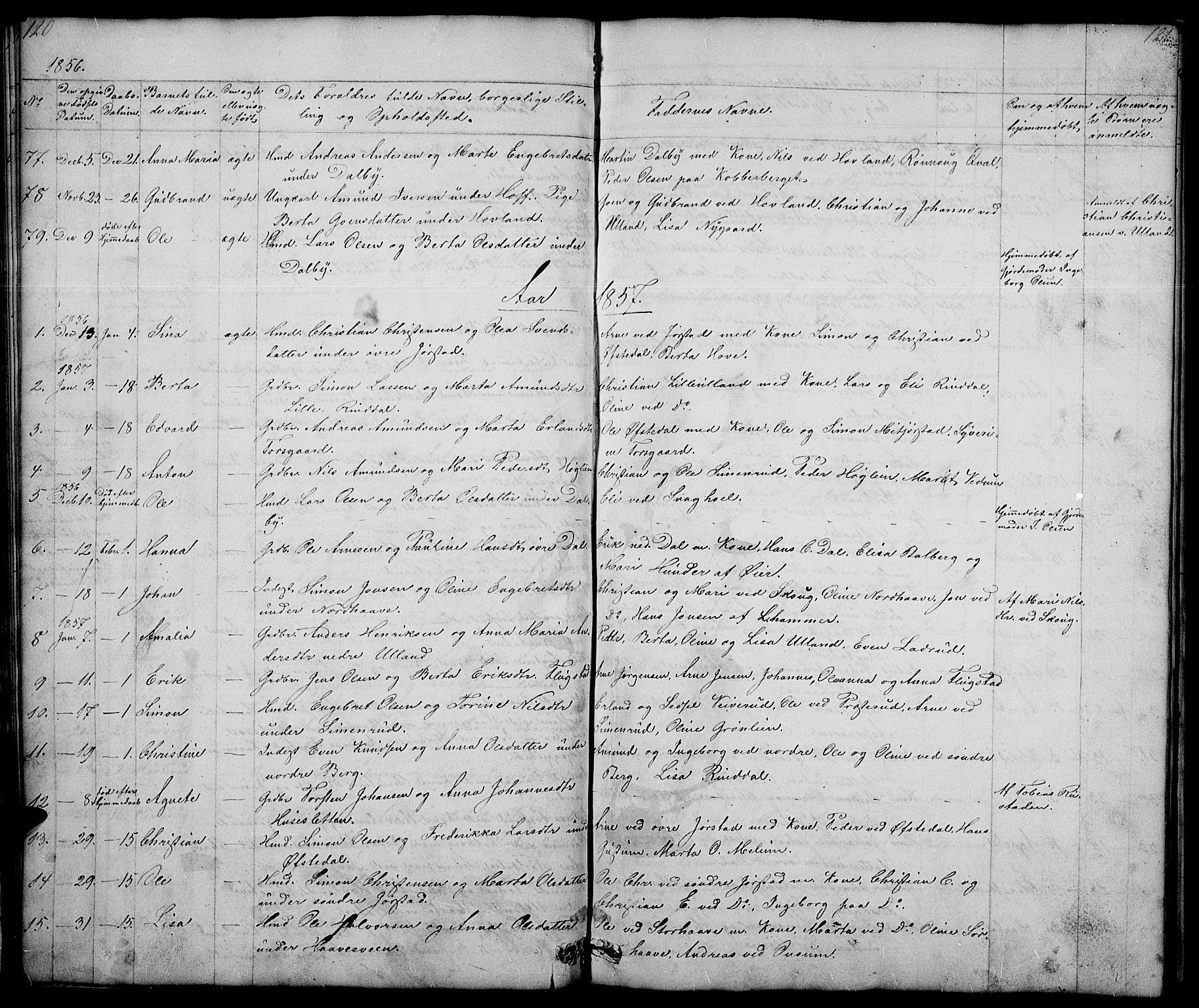 SAH, Fåberg prestekontor, Klokkerbok nr. 5, 1837-1864, s. 120-121