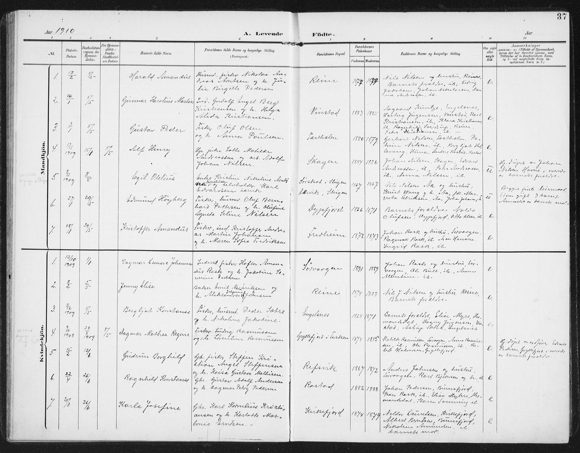 SAT, Ministerialprotokoller, klokkerbøker og fødselsregistre - Nordland, 886/L1221: Ministerialbok nr. 886A03, 1903-1913, s. 37