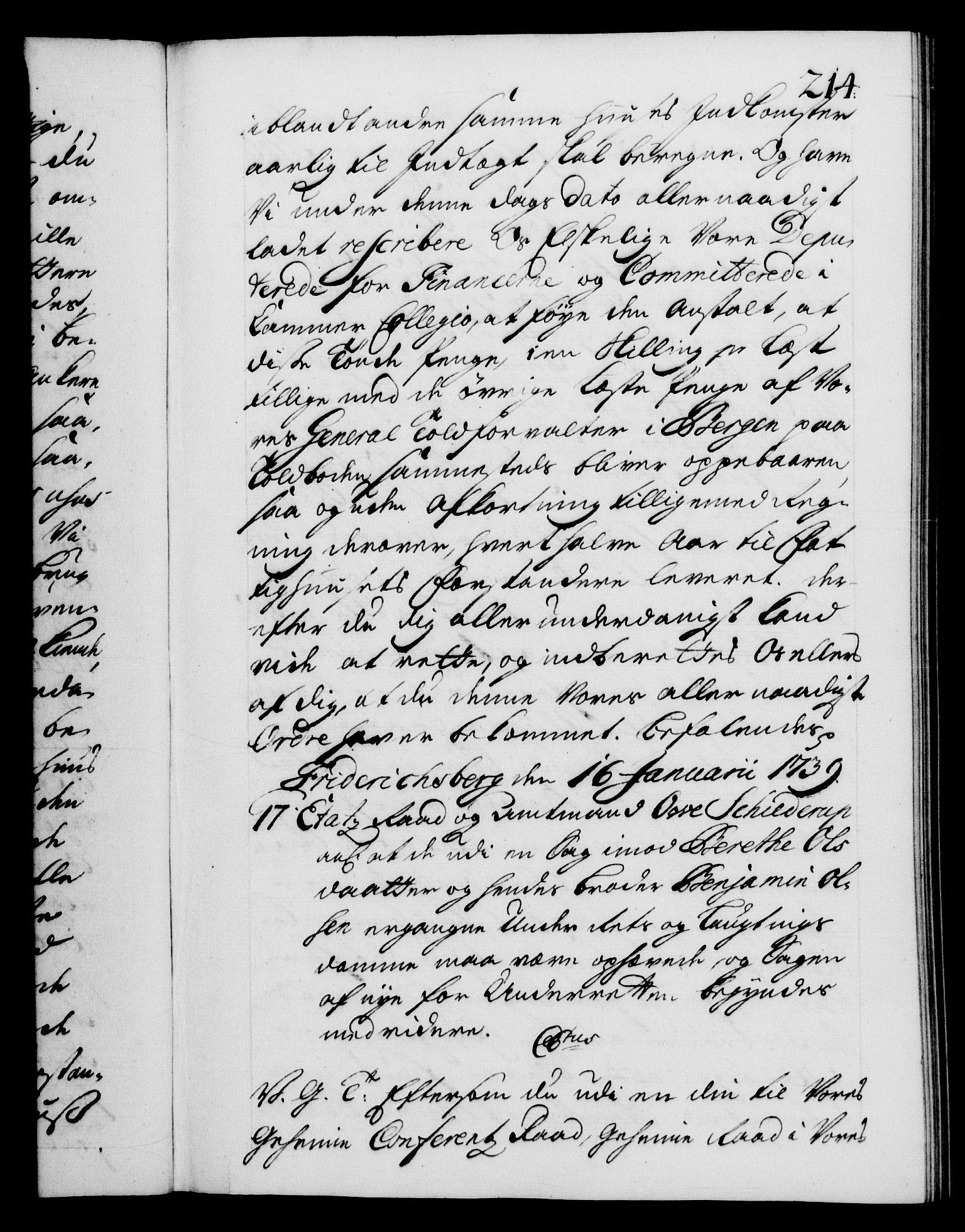 RA, Danske Kanselli 1572-1799, F/Fc/Fca/Fcab/L0028: Norske tegnelser, 1738-1740, s. 214a
