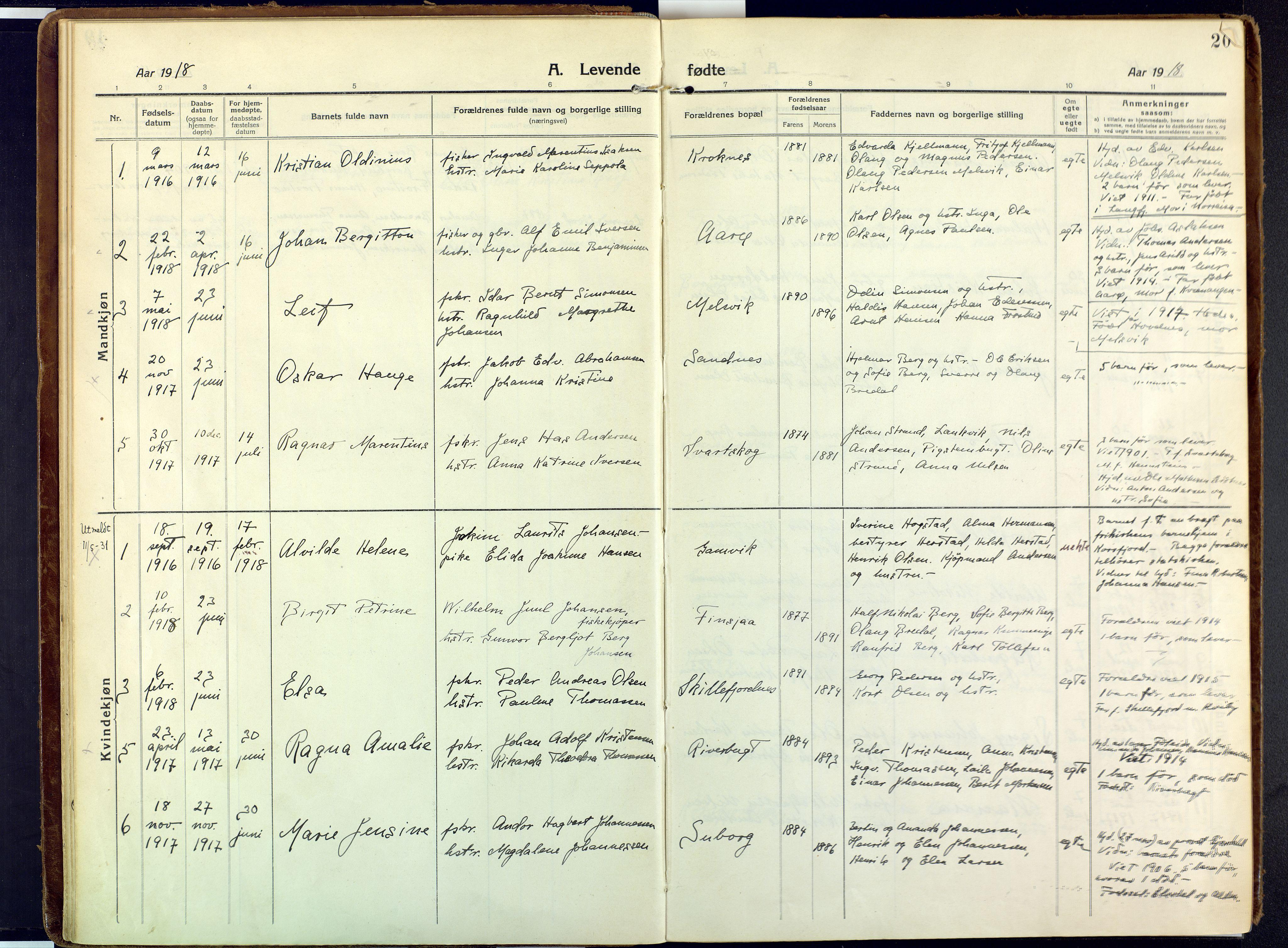 SATØ, Talvik sokneprestkontor, H/Ha/L0018kirke: Ministerialbok nr. 18, 1915-1924, s. 20