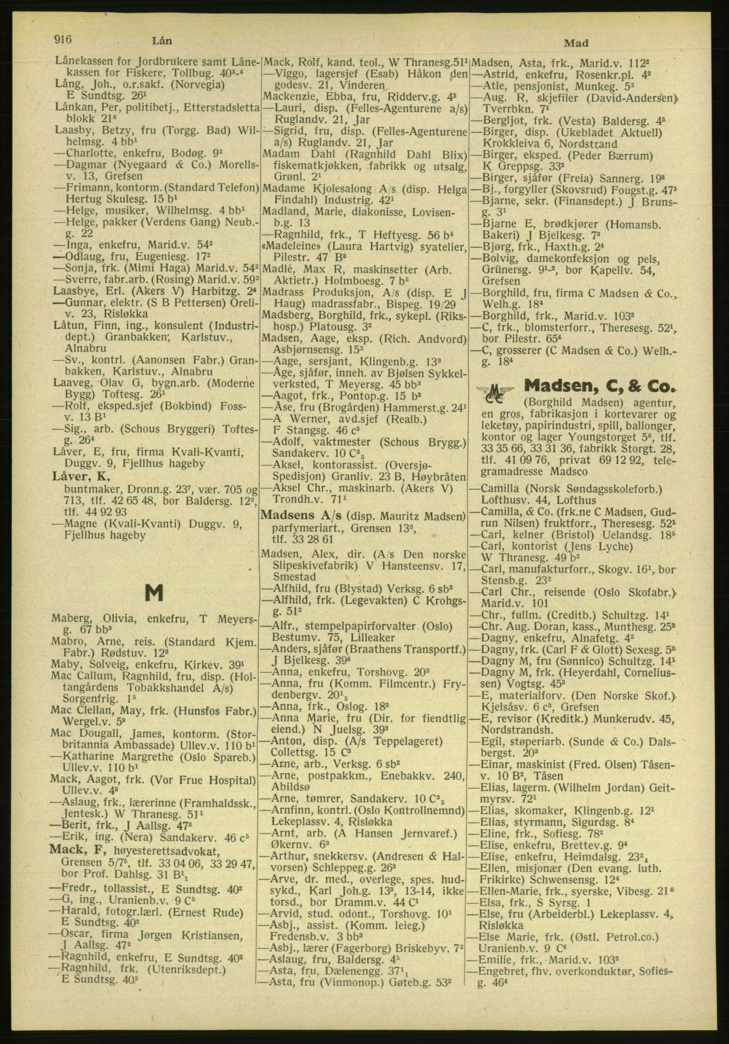 PUBL, Kristiania/Oslo adressebok, 1951, s. 916