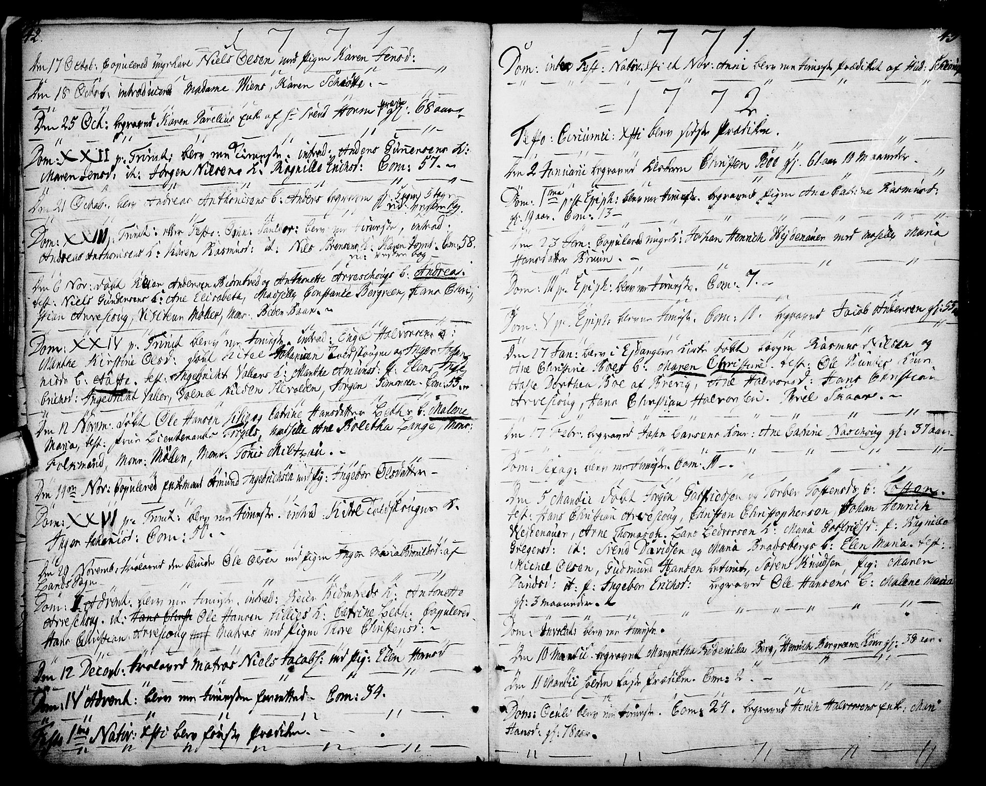 SAKO, Porsgrunn kirkebøker , F/Fa/L0002: Ministerialbok nr. 2, 1764-1814, s. 42-43