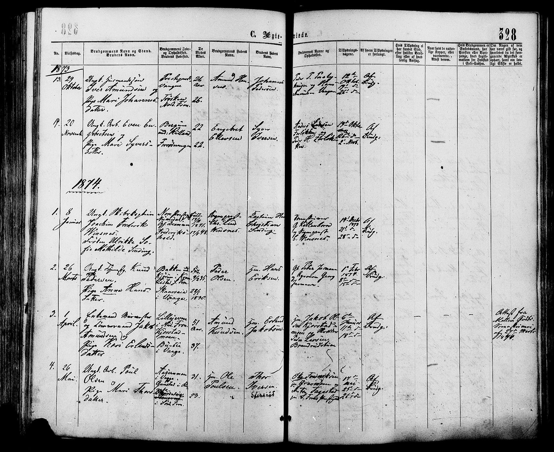 SAH, Sør-Fron prestekontor, H/Ha/Haa/L0002: Ministerialbok nr. 2, 1864-1880, s. 328