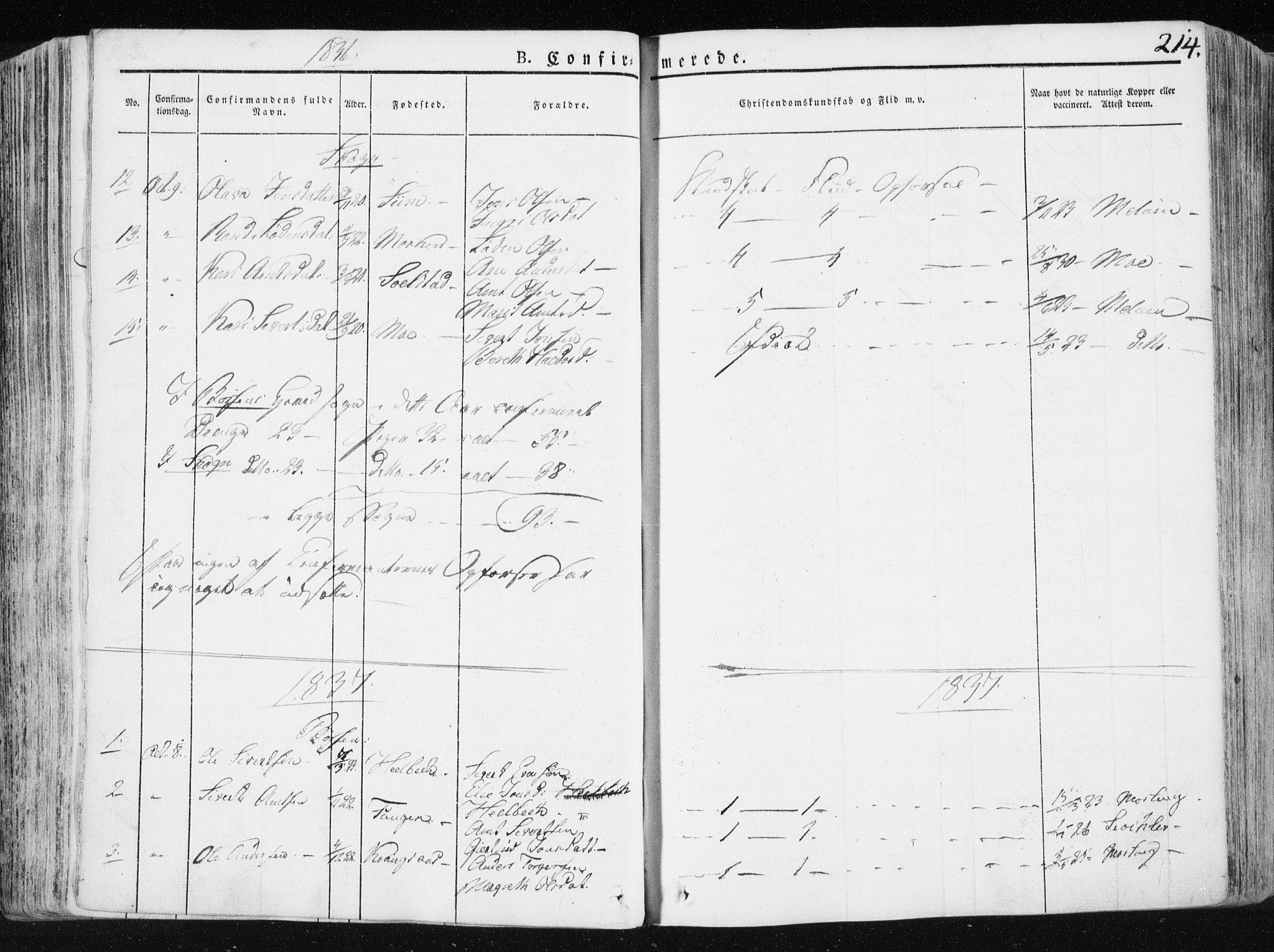SAT, Ministerialprotokoller, klokkerbøker og fødselsregistre - Sør-Trøndelag, 665/L0771: Ministerialbok nr. 665A06, 1830-1856, s. 214