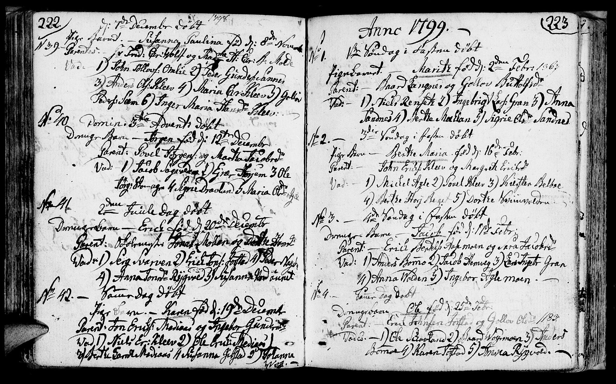 SAT, Ministerialprotokoller, klokkerbøker og fødselsregistre - Nord-Trøndelag, 749/L0468: Ministerialbok nr. 749A02, 1787-1817, s. 222-223