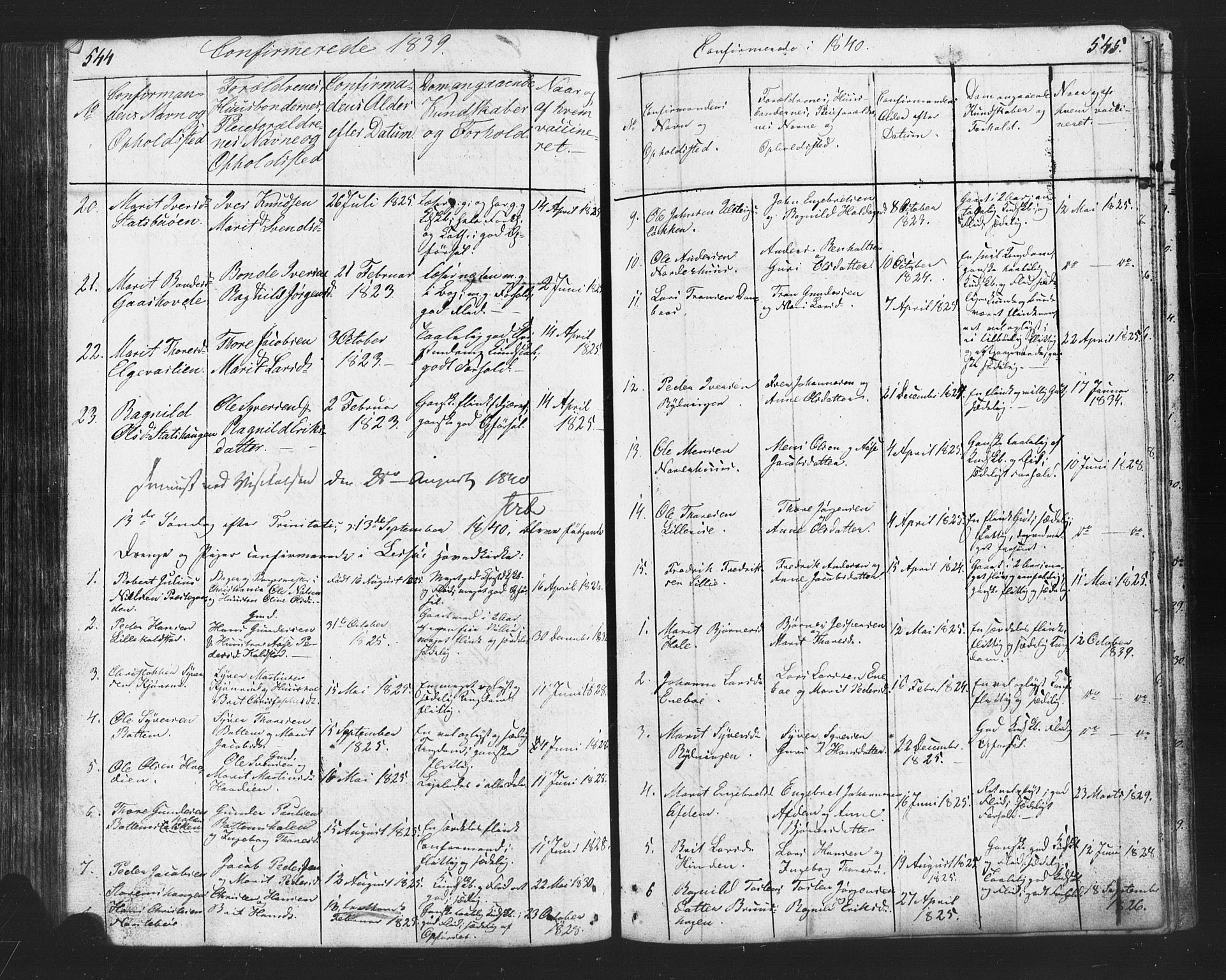 SAH, Lesja prestekontor, Klokkerbok nr. 2, 1832-1850, s. 544-545
