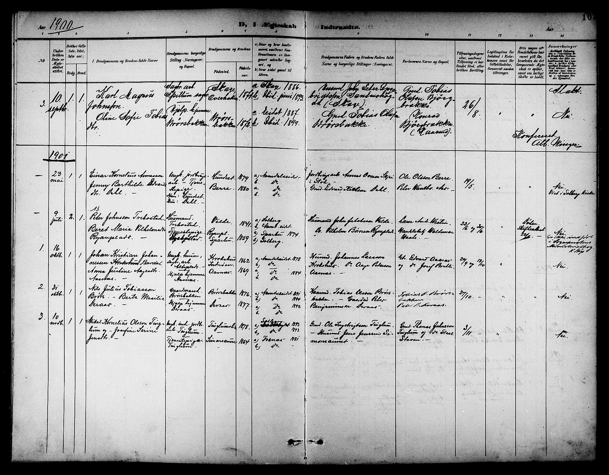 SAT, Ministerialprotokoller, klokkerbøker og fødselsregistre - Nord-Trøndelag, 742/L0412: Klokkerbok nr. 742C03, 1898-1910, s. 107