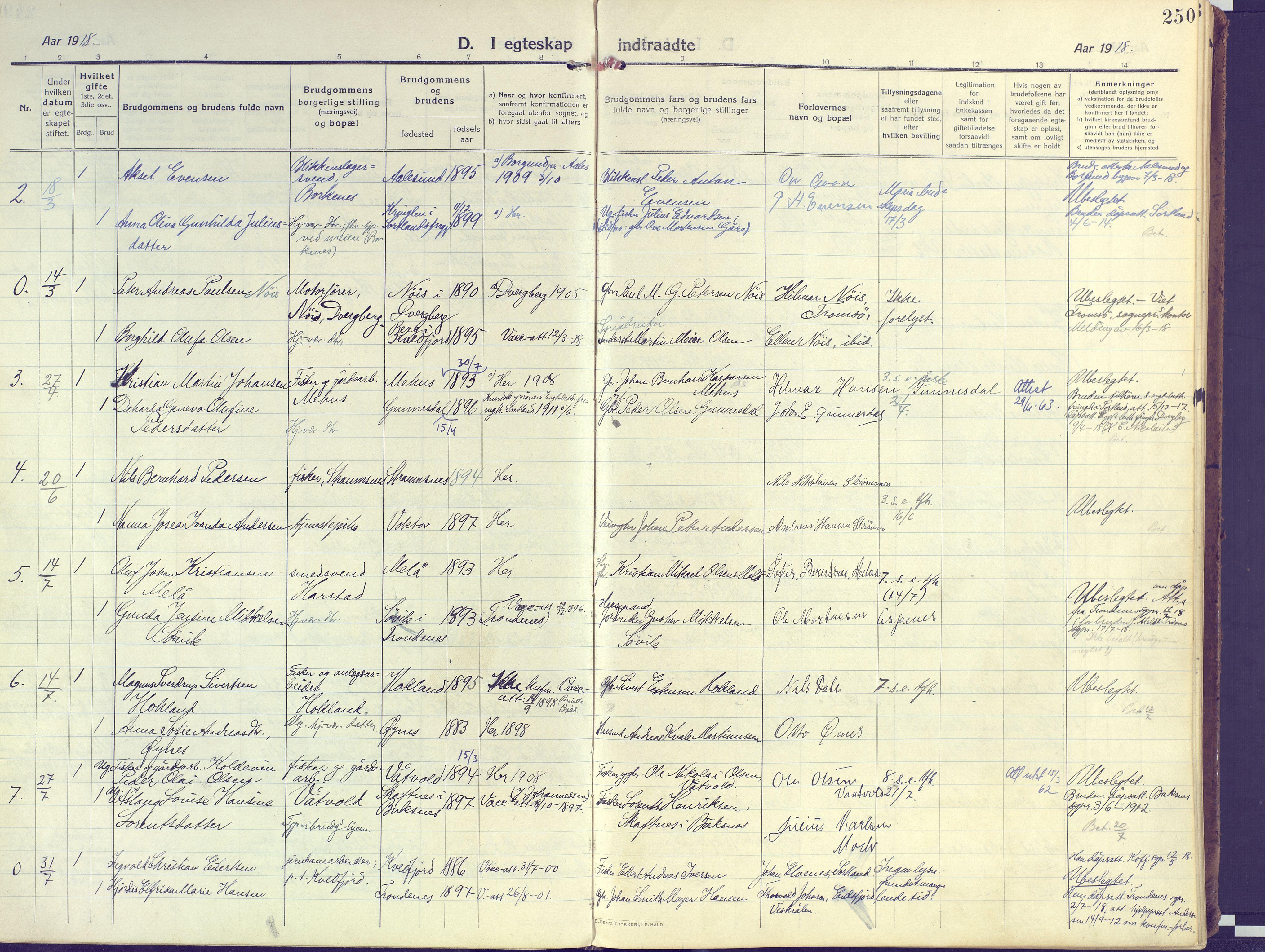 SATØ, Kvæfjord sokneprestkontor, G/Ga/Gaa/L0007kirke: Ministerialbok nr. 7, 1915-1931, s. 250