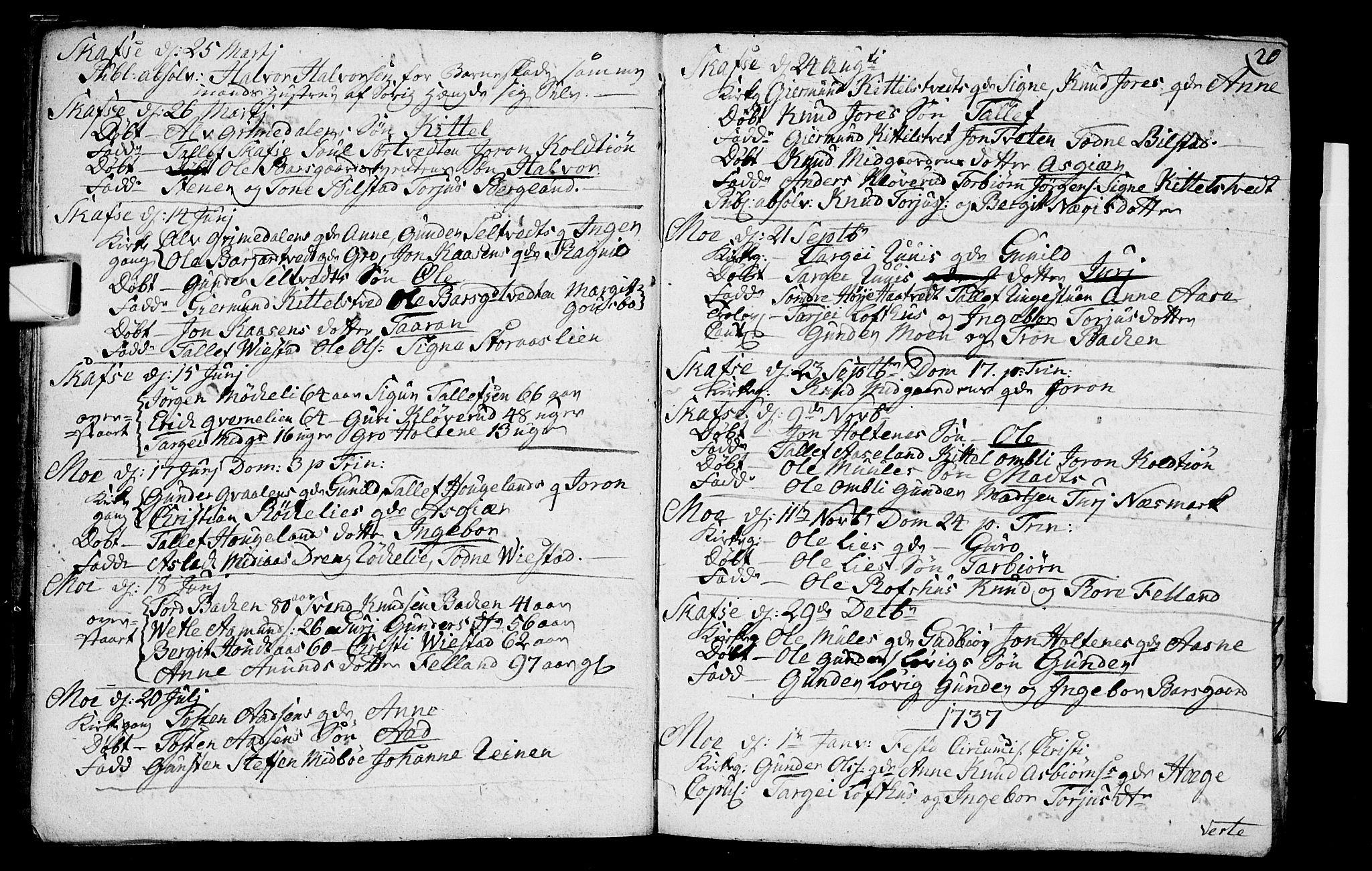 SAKO, Mo kirkebøker, F/Fa/L0001: Ministerialbok nr. I 1, 1724-1748, s. 20