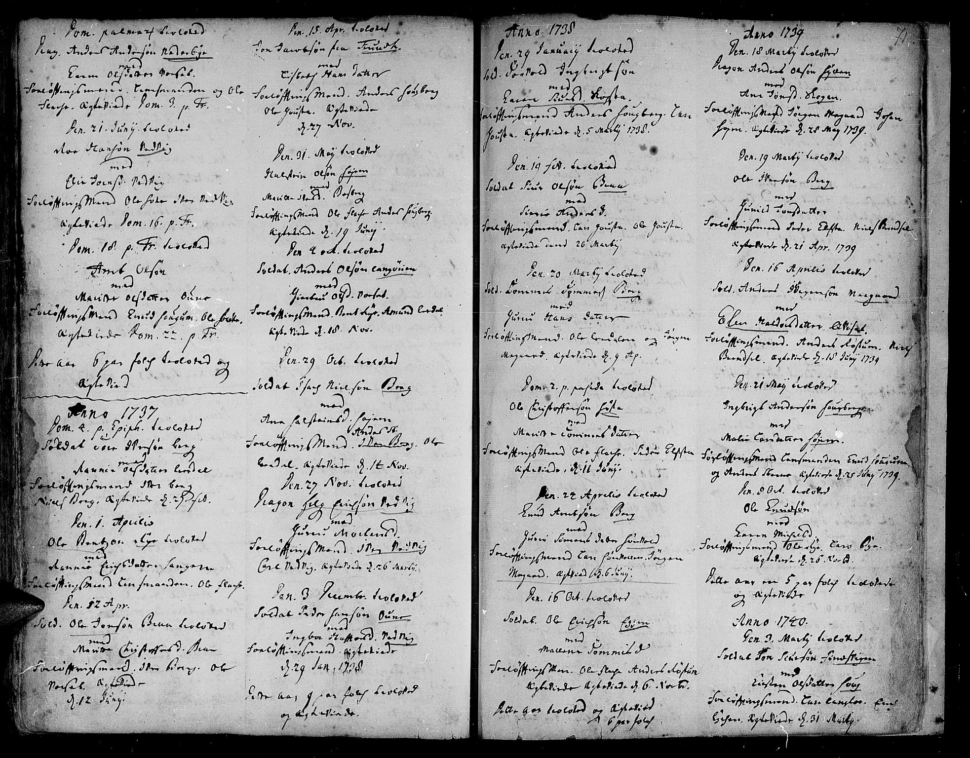SAT, Ministerialprotokoller, klokkerbøker og fødselsregistre - Sør-Trøndelag, 612/L0368: Ministerialbok nr. 612A02, 1702-1753, s. 71