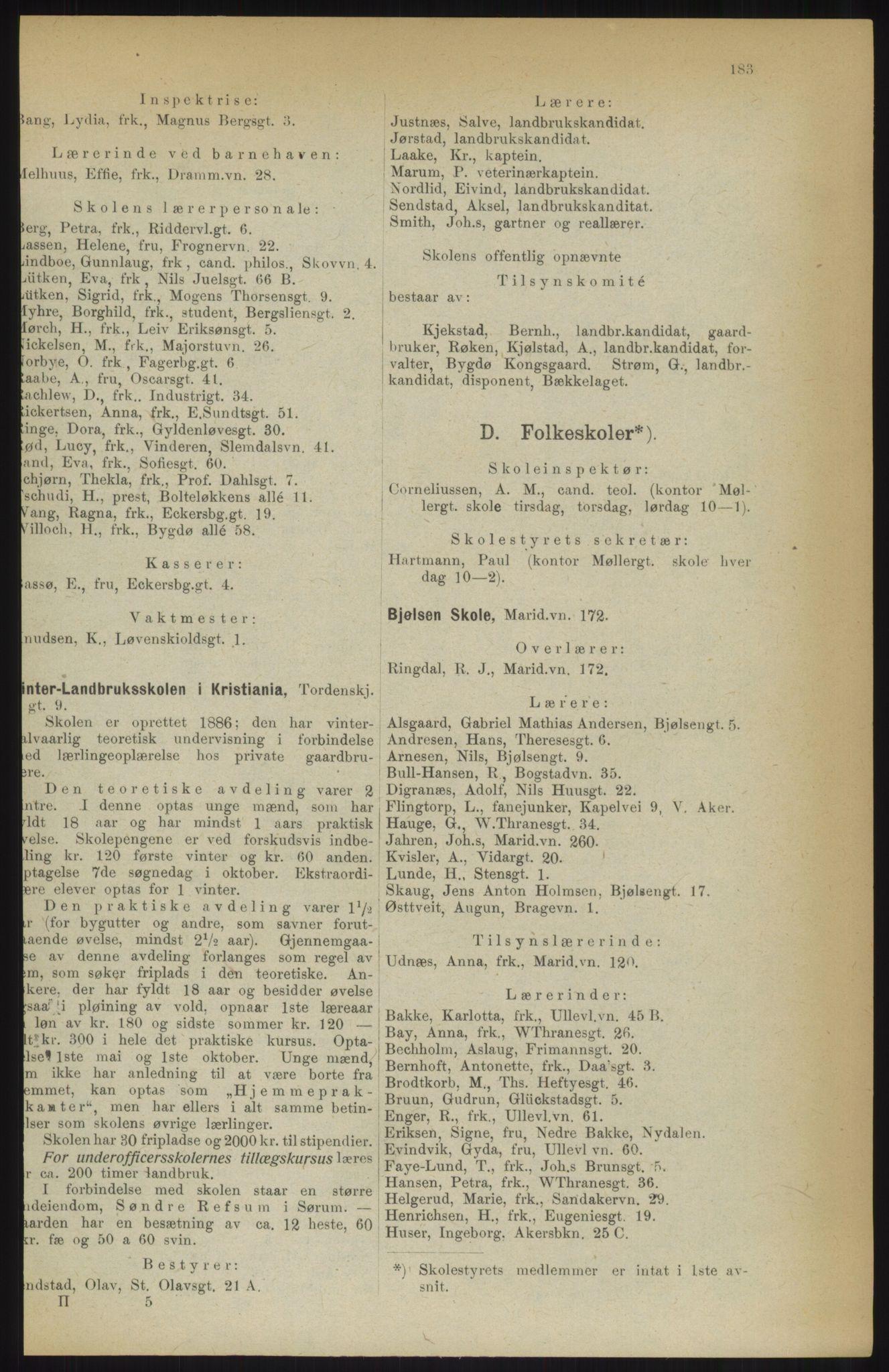 RA, Kristiania adressebok (publikasjon)*, 1914, s. 183