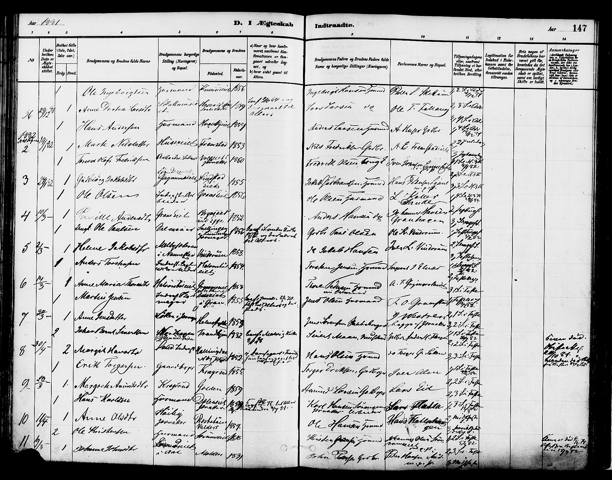 SAH, Gran prestekontor, Ministerialbok nr. 14, 1880-1889, s. 147