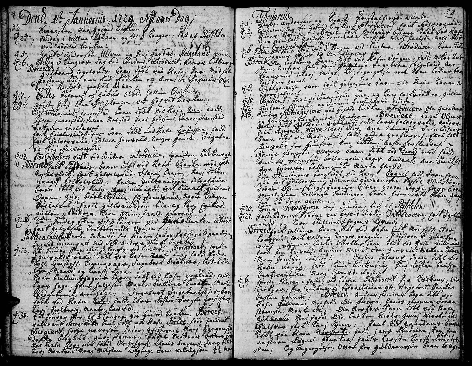 SAH, Jevnaker prestekontor, Ministerialbok nr. 2, 1725-1751, s. 32-33