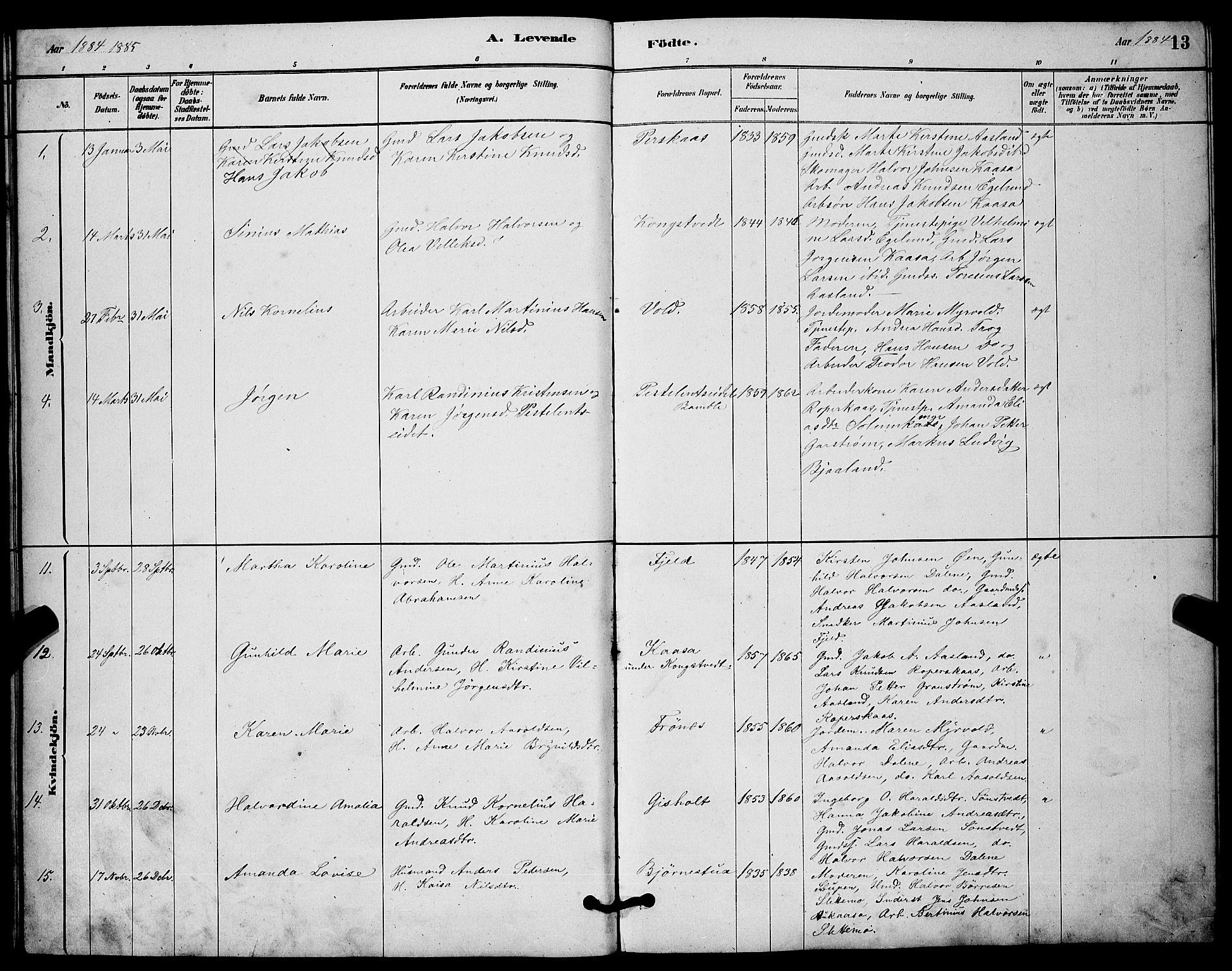 SAKO, Solum kirkebøker, G/Gc/L0001: Klokkerbok nr. III 1, 1880-1902, s. 13