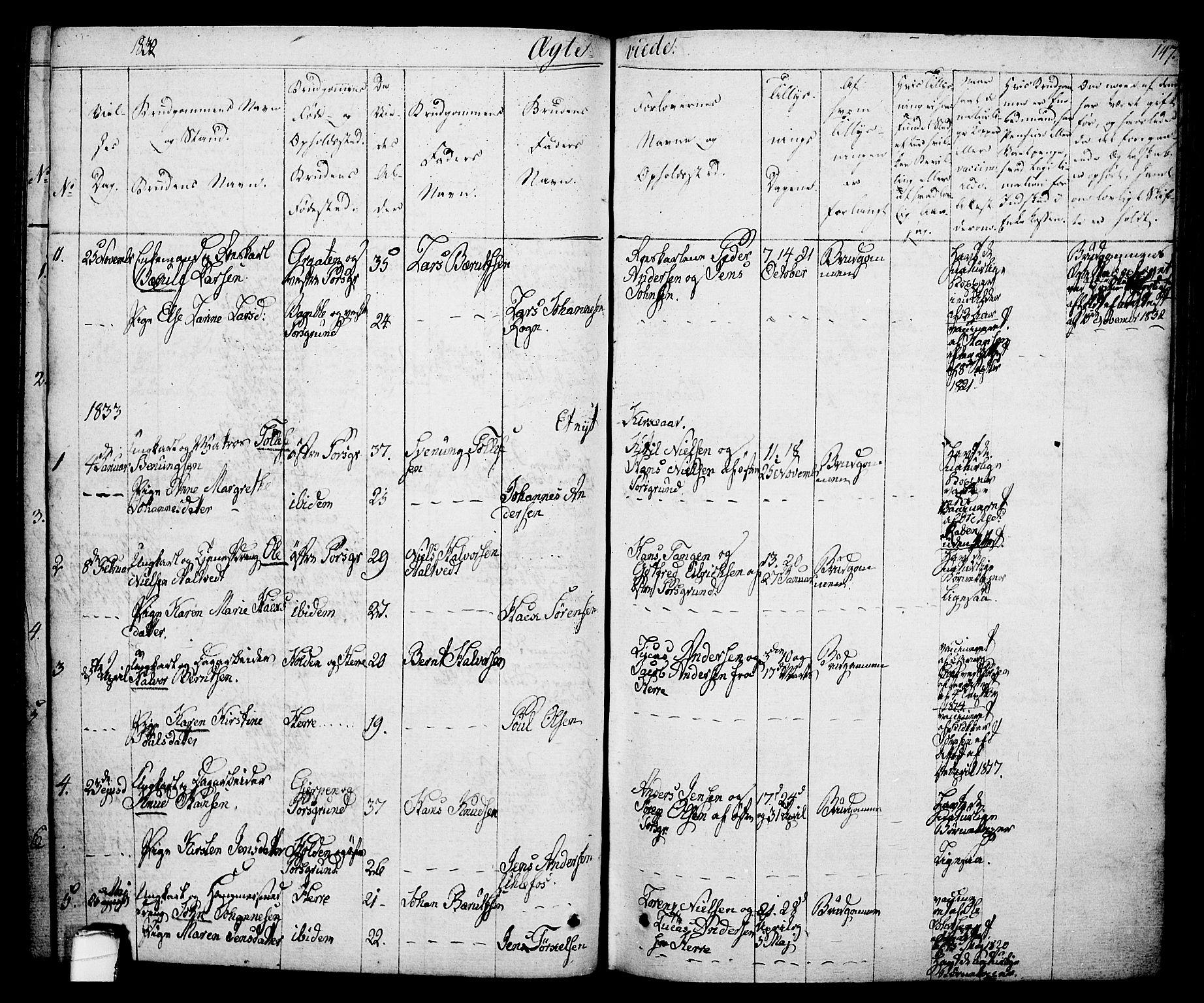 SAKO, Porsgrunn kirkebøker , F/Fa/L0005: Ministerialbok nr. 5, 1828-1840, s. 147