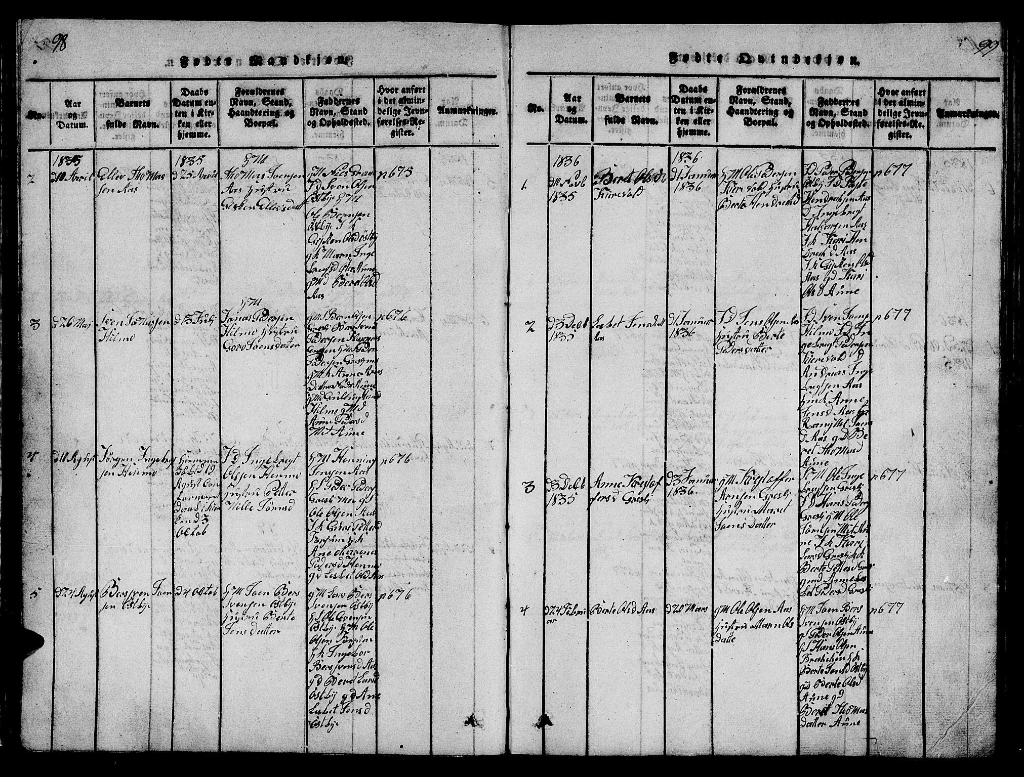 SAT, Ministerialprotokoller, klokkerbøker og fødselsregistre - Sør-Trøndelag, 698/L1164: Klokkerbok nr. 698C01, 1816-1861, s. 98-99