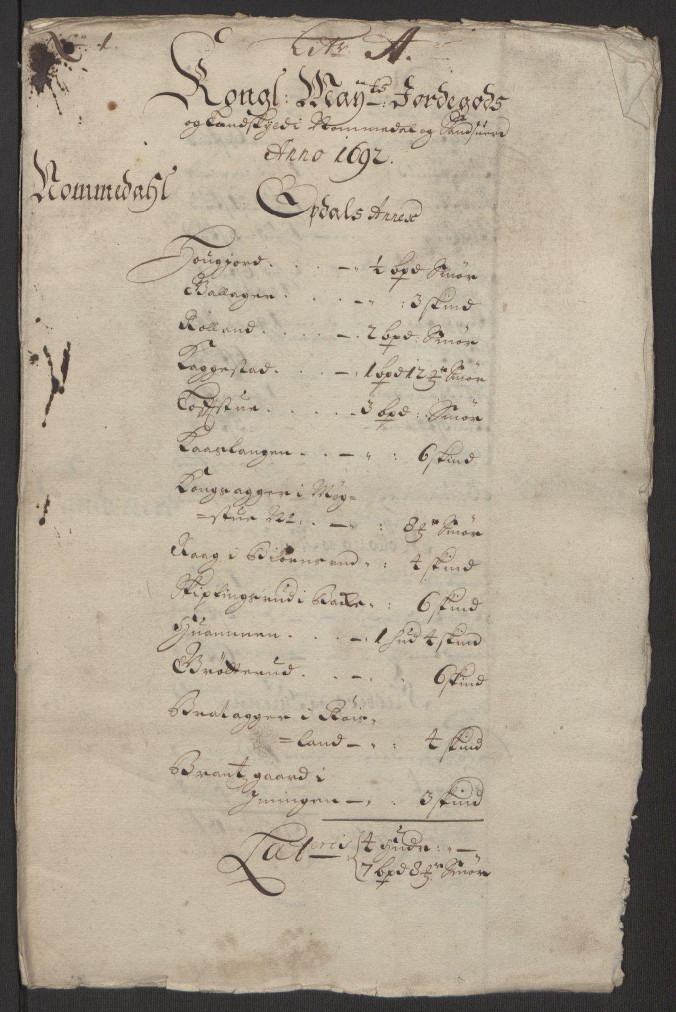RA, Rentekammeret inntil 1814, Reviderte regnskaper, Fogderegnskap, R24/L1575: Fogderegnskap Numedal og Sandsvær, 1692-1695, s. 51