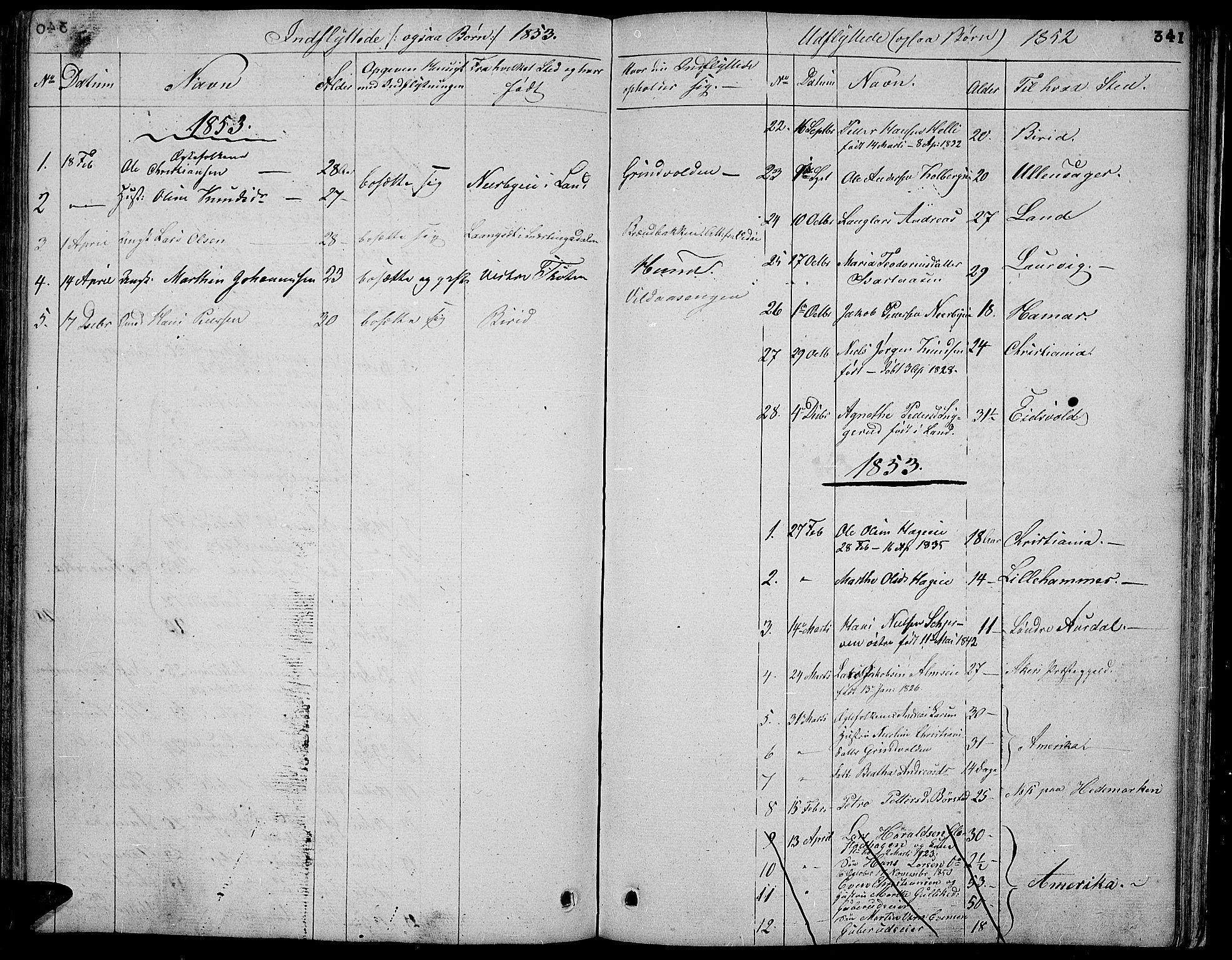SAH, Vardal prestekontor, H/Ha/Hab/L0004: Klokkerbok nr. 4, 1831-1853, s. 341