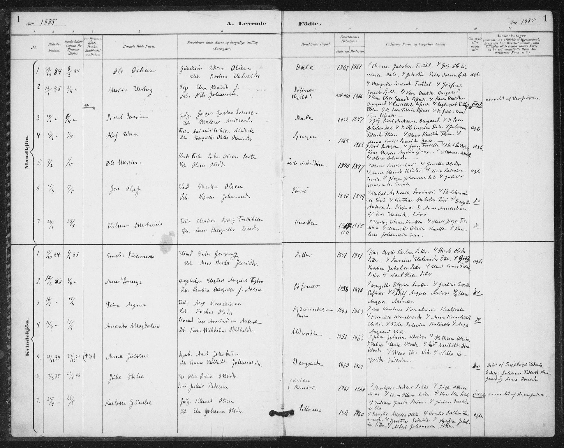 SAT, Ministerialprotokoller, klokkerbøker og fødselsregistre - Nord-Trøndelag, 772/L0603: Ministerialbok nr. 772A01, 1885-1912, s. 1