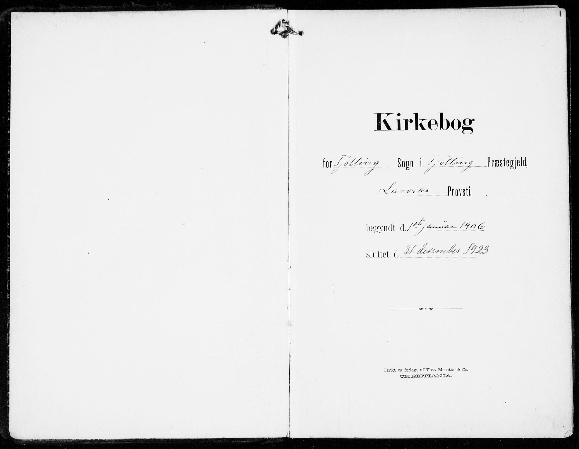 SAKO, Tjølling kirkebøker, F/Fa/L0010: Ministerialbok nr. 10, 1906-1923, s. 1