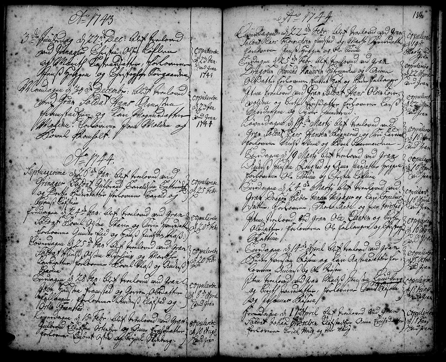 SAH, Gran prestekontor, Ministerialbok nr. 2, 1732-1744, s. 184