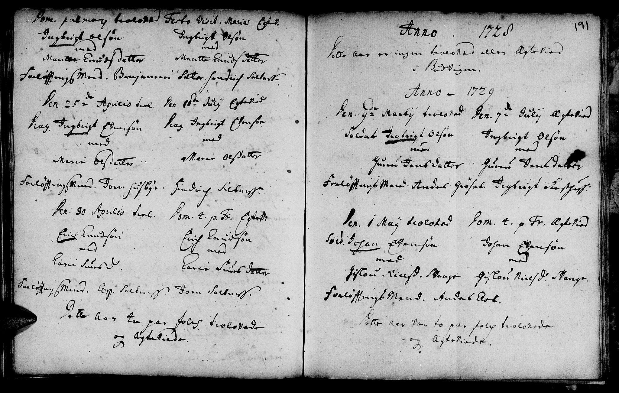 SAT, Ministerialprotokoller, klokkerbøker og fødselsregistre - Sør-Trøndelag, 666/L0783: Ministerialbok nr. 666A01, 1702-1753, s. 191