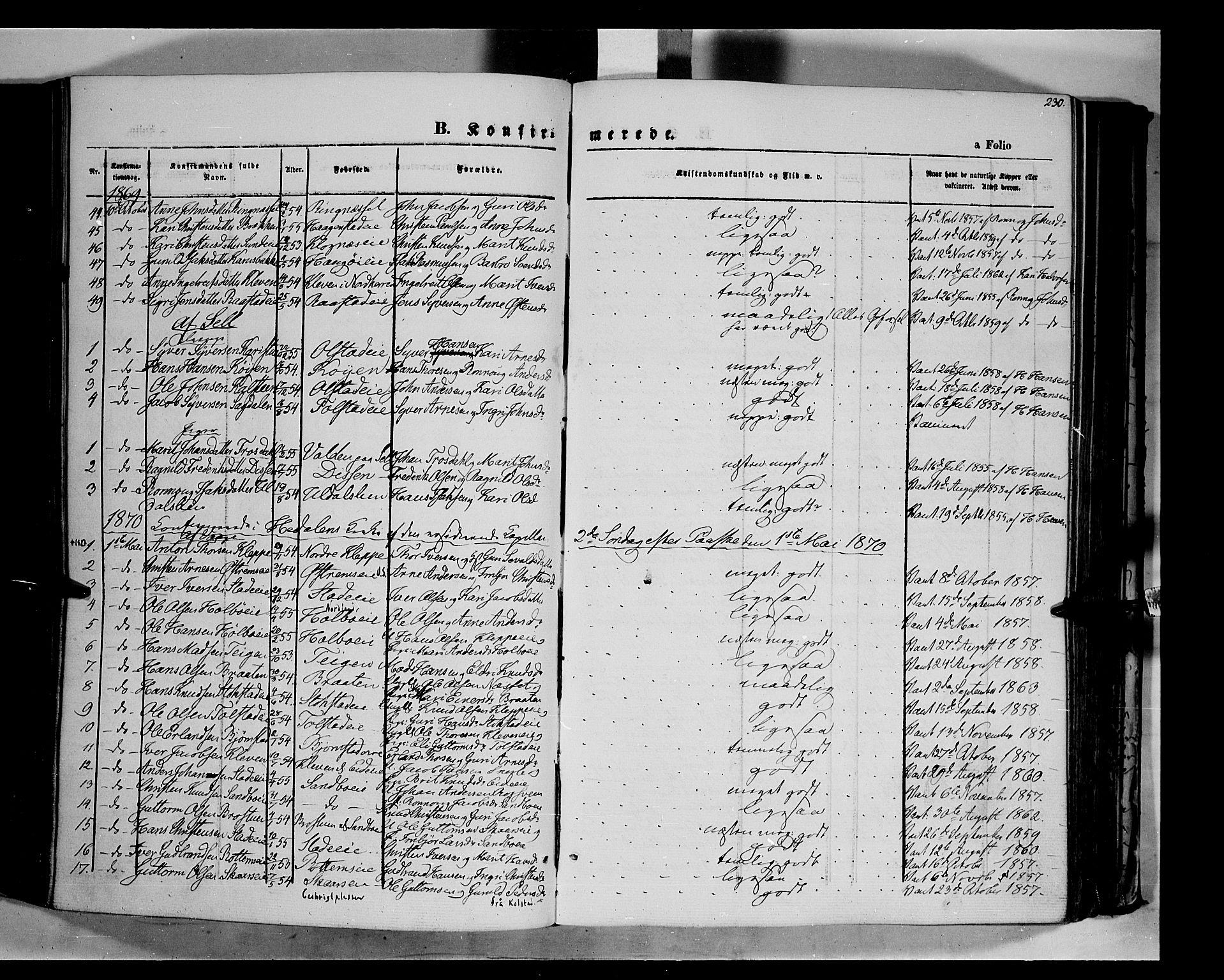 SAH, Vågå prestekontor, Ministerialbok nr. 6 /1, 1856-1872, s. 230