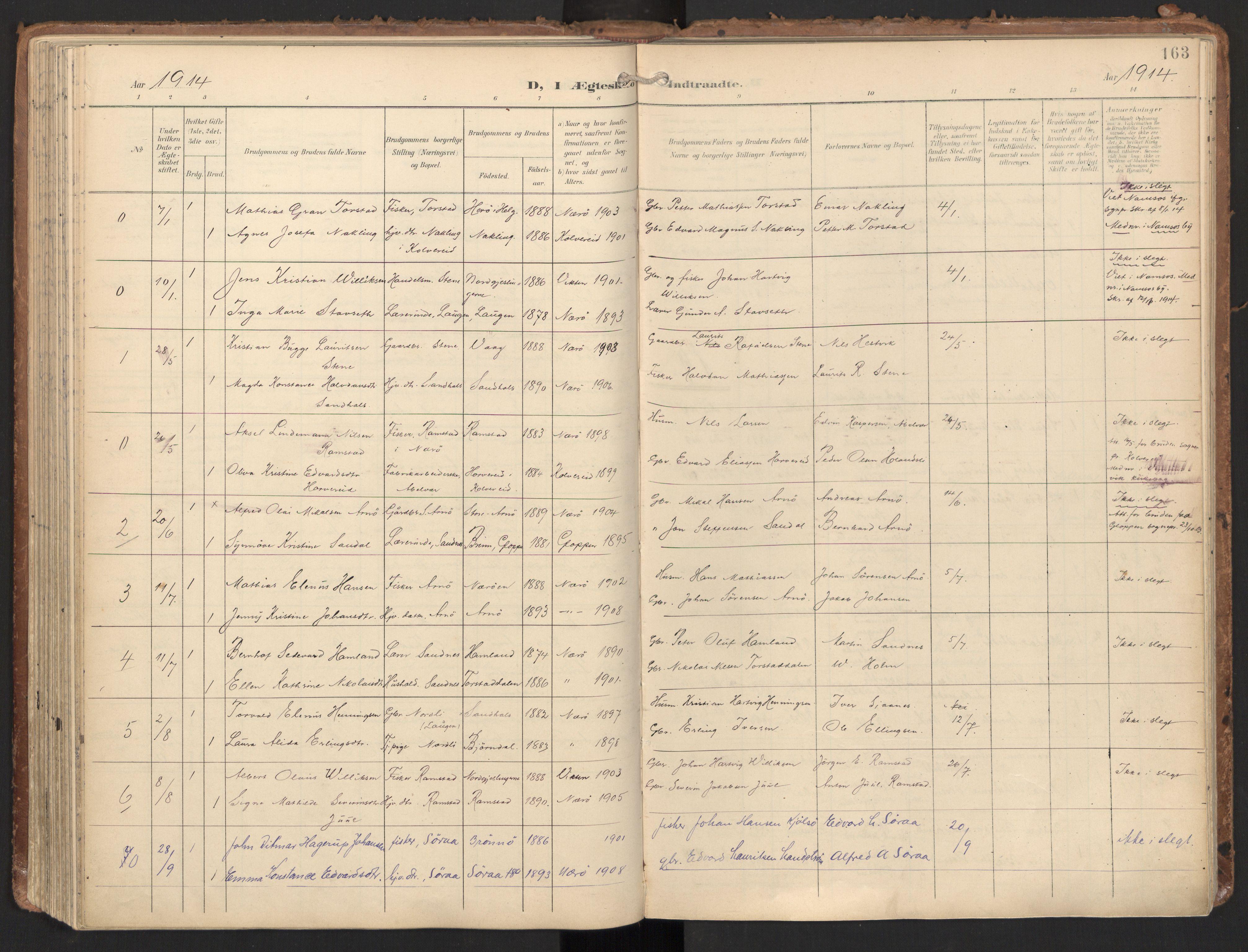 SAT, Ministerialprotokoller, klokkerbøker og fødselsregistre - Nord-Trøndelag, 784/L0677: Ministerialbok nr. 784A12, 1900-1920, s. 163