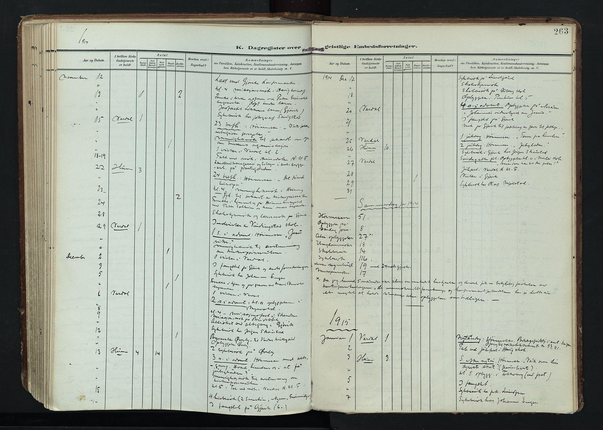 SAH, Vardal prestekontor, H/Ha/Haa/L0020: Ministerialbok nr. 20, 1907-1921, s. 263