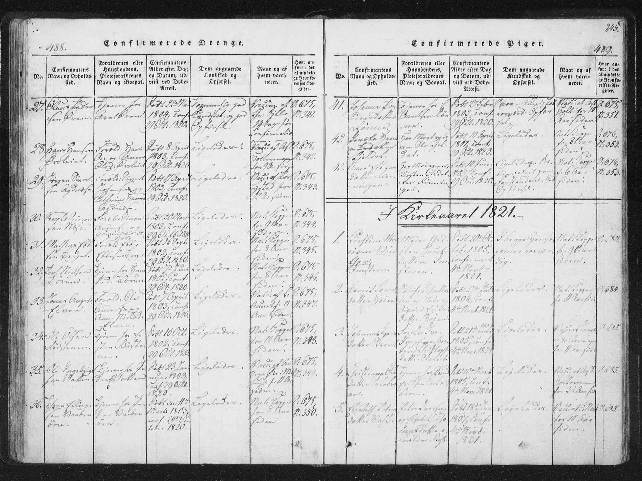 SAT, Ministerialprotokoller, klokkerbøker og fødselsregistre - Sør-Trøndelag, 659/L0734: Ministerialbok nr. 659A04, 1818-1825, s. 488-489