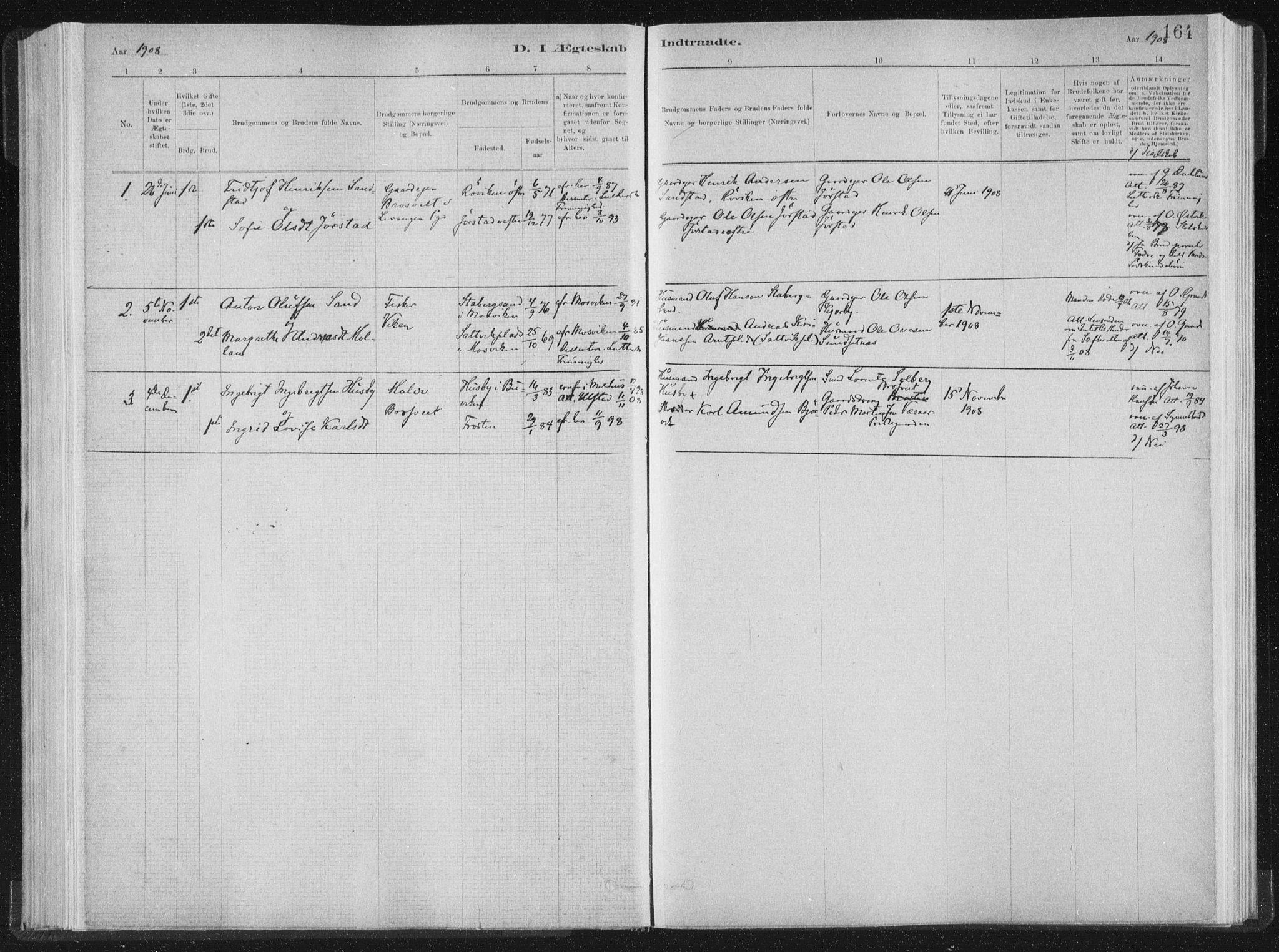 SAT, Ministerialprotokoller, klokkerbøker og fødselsregistre - Nord-Trøndelag, 722/L0220: Ministerialbok nr. 722A07, 1881-1908, s. 164