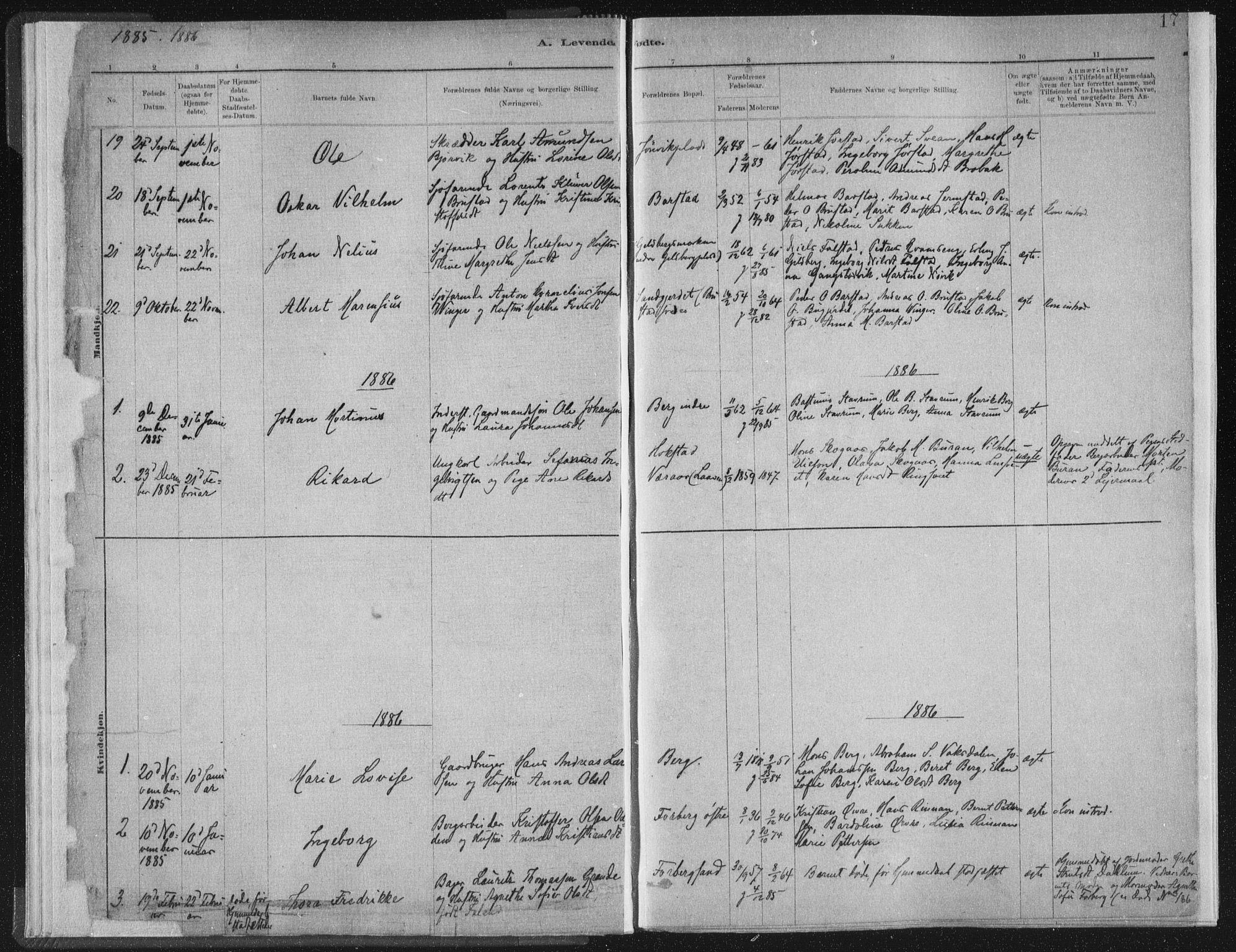 SAT, Ministerialprotokoller, klokkerbøker og fødselsregistre - Nord-Trøndelag, 722/L0220: Ministerialbok nr. 722A07, 1881-1908, s. 17