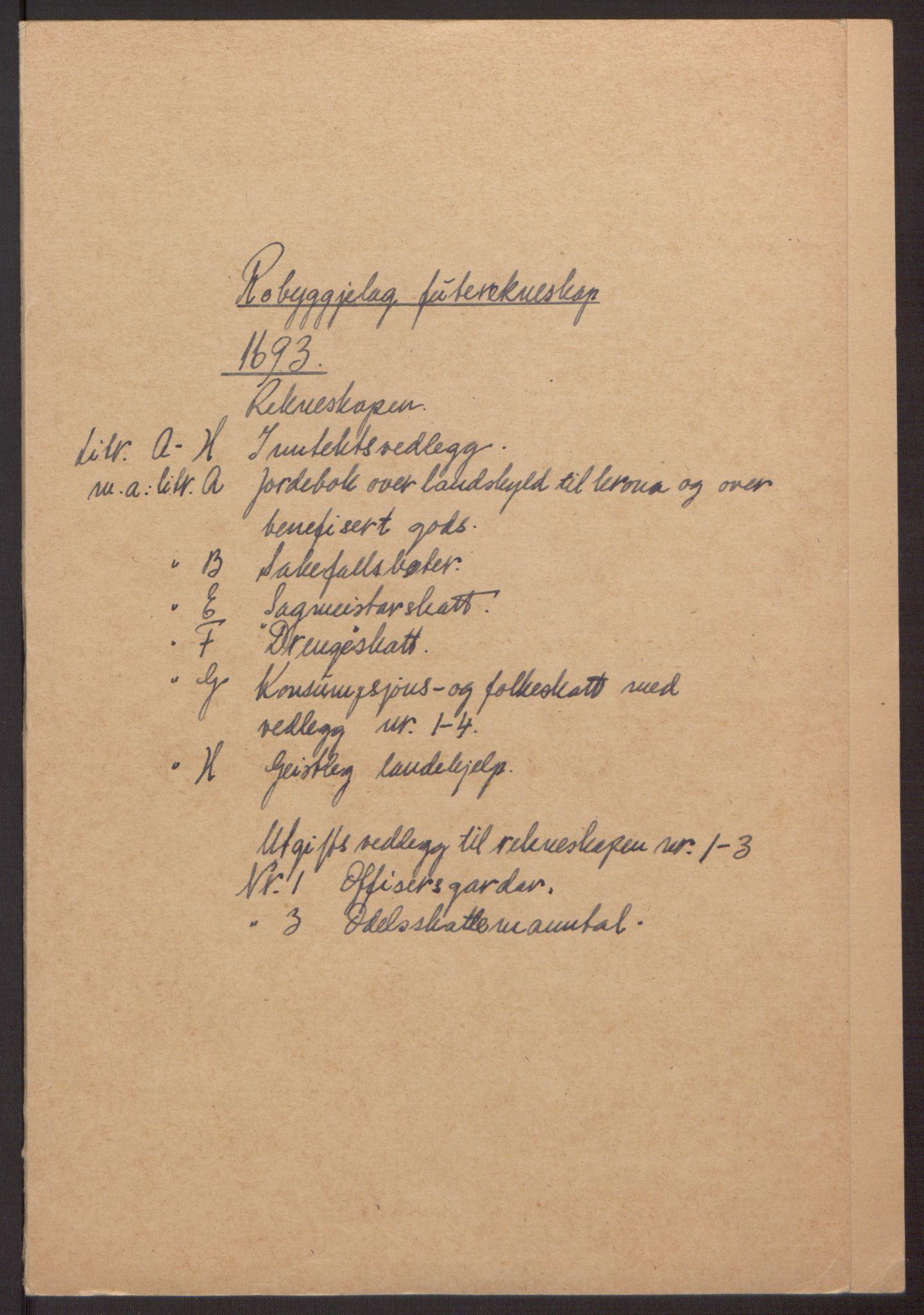 RA, Rentekammeret inntil 1814, Reviderte regnskaper, Fogderegnskap, R40/L2444: Fogderegnskap Råbyggelag, 1693-1696, s. 2
