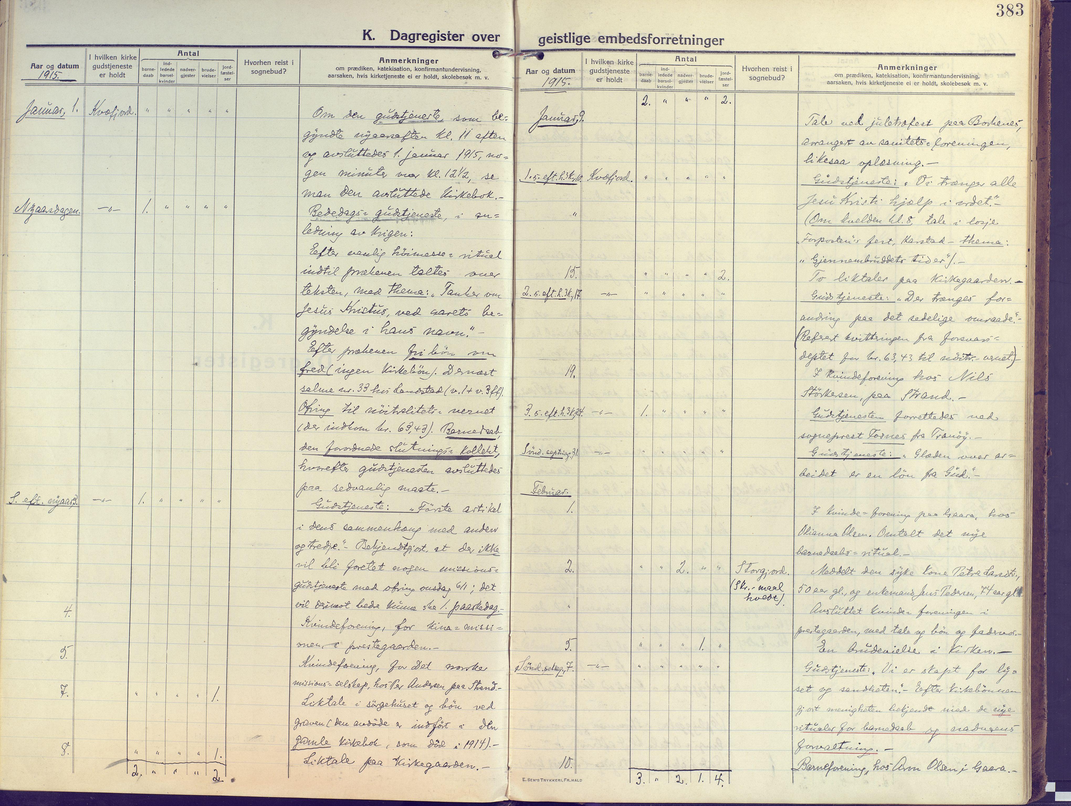 SATØ, Kvæfjord sokneprestkontor, G/Ga/Gaa/L0007kirke: Ministerialbok nr. 7, 1915-1931, s. 383