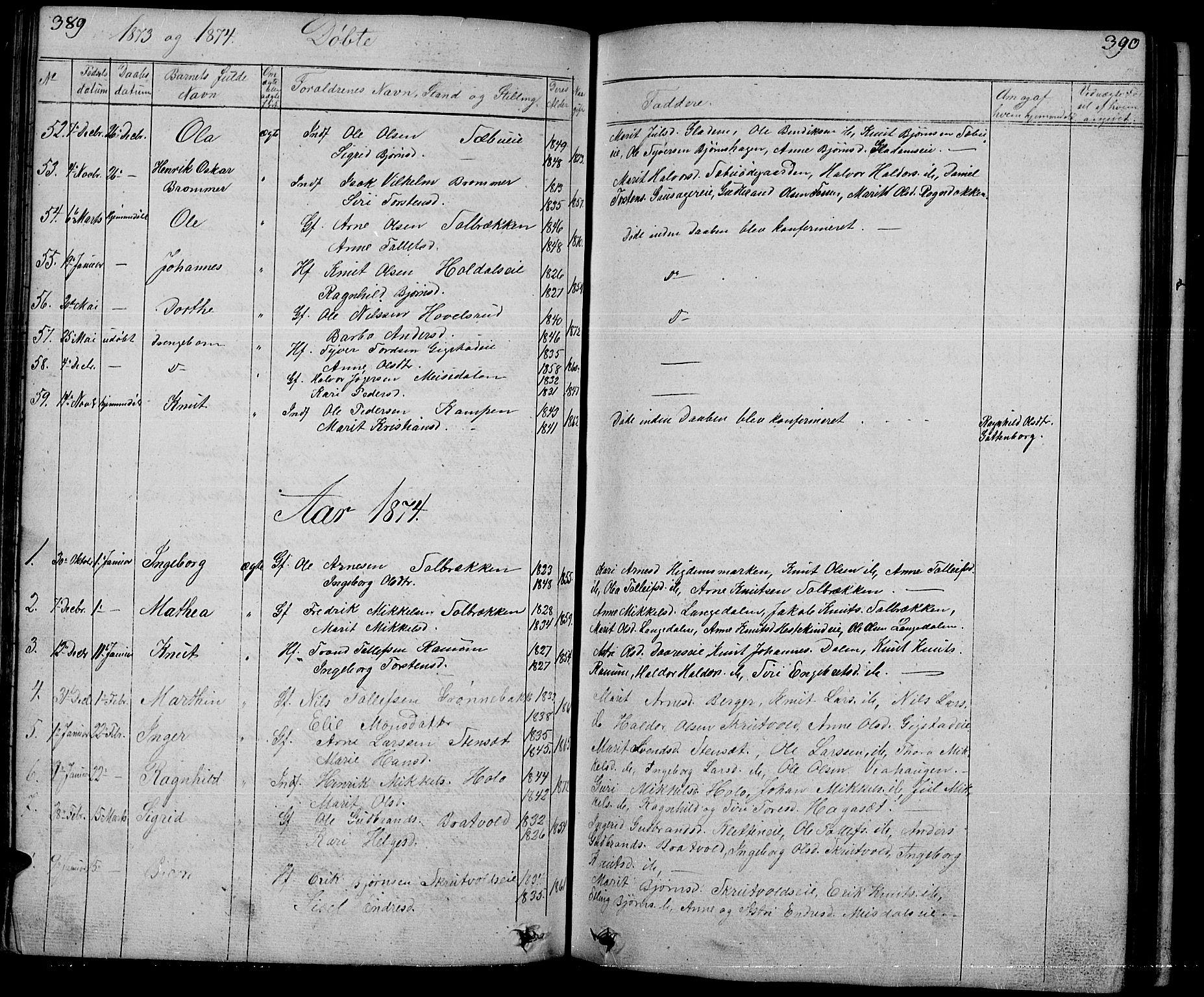 SAH, Nord-Aurdal prestekontor, Klokkerbok nr. 1, 1834-1887, s. 389-390