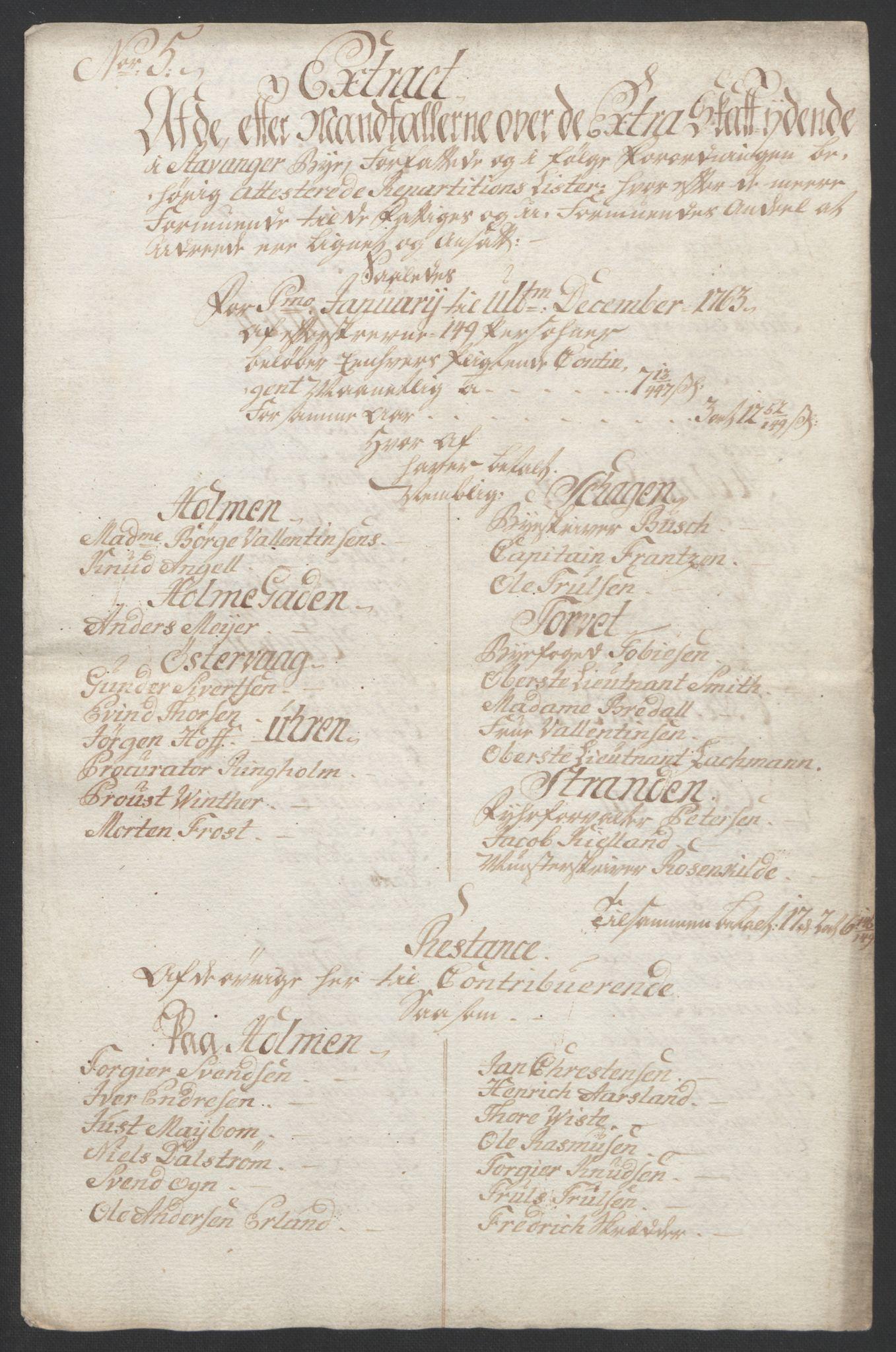 RA, Rentekammeret inntil 1814, Realistisk ordnet avdeling, Ol/L0015: [Gg 10]: Ekstraskatten, 23.09.1762. Stavanger by, Jæren og Dalane, Bergen, 1762-1764, s. 68