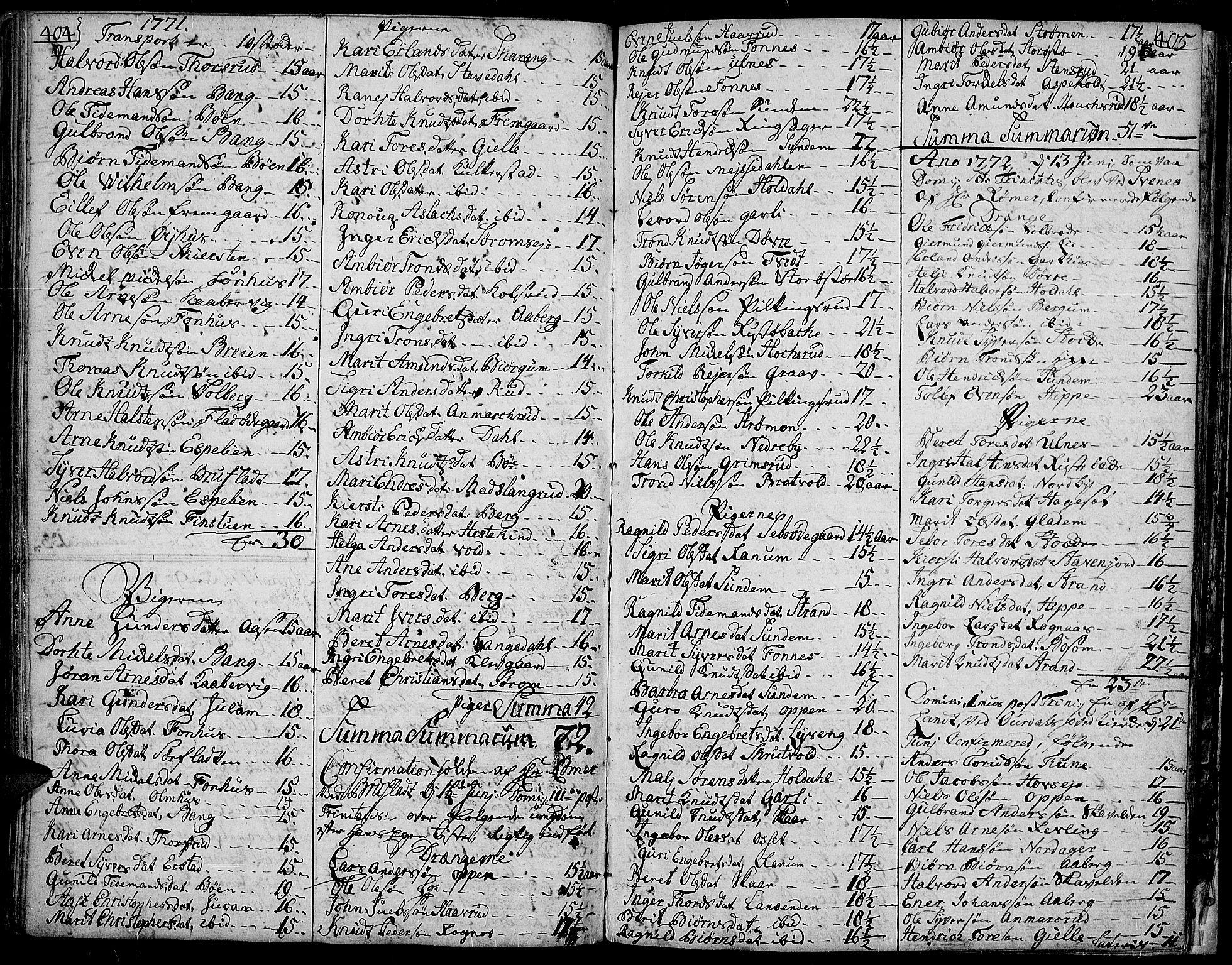 SAH, Aurdal prestekontor, Ministerialbok nr. 5, 1763-1781, s. 404-405