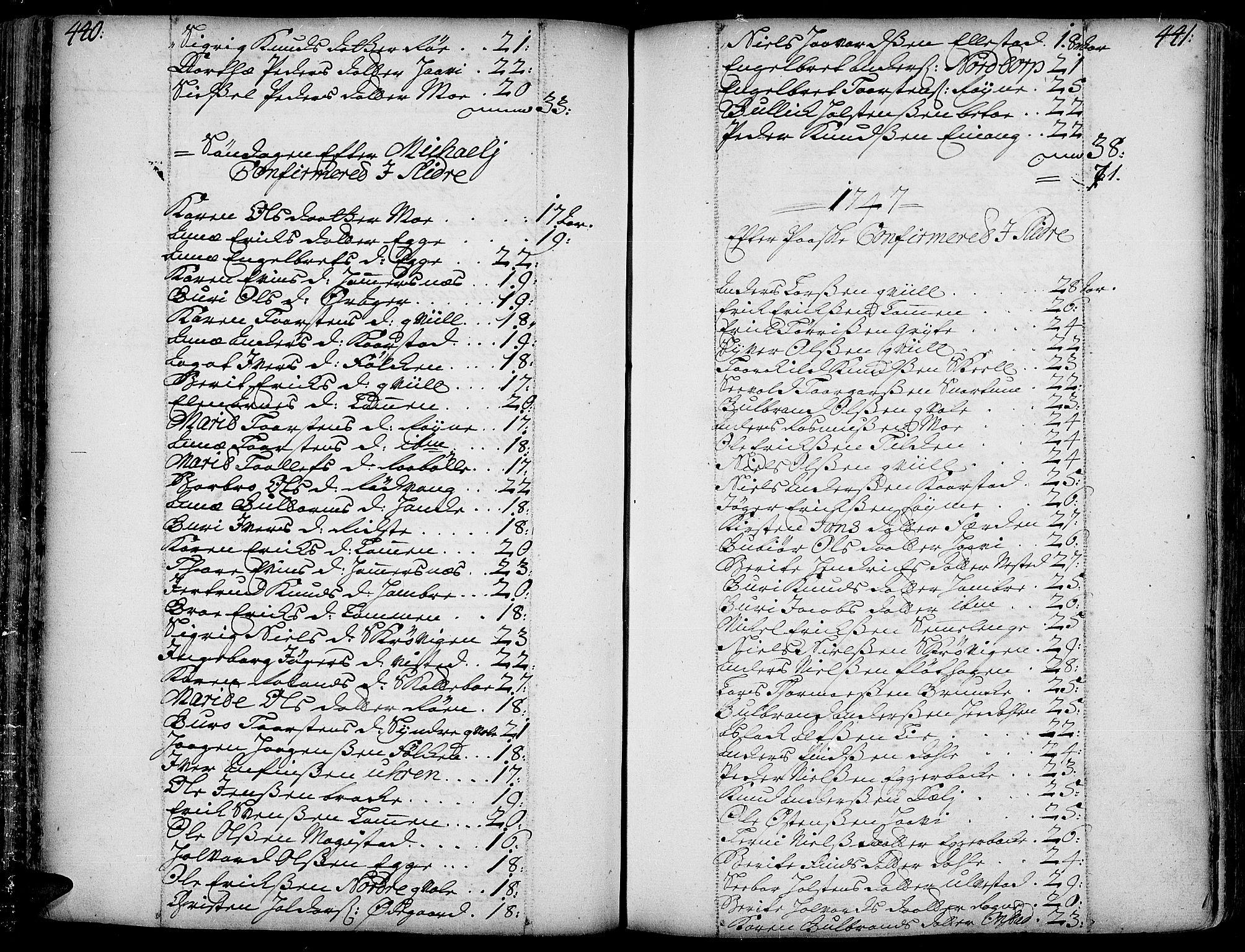 SAH, Slidre prestekontor, Ministerialbok nr. 1, 1724-1814, s. 440-441