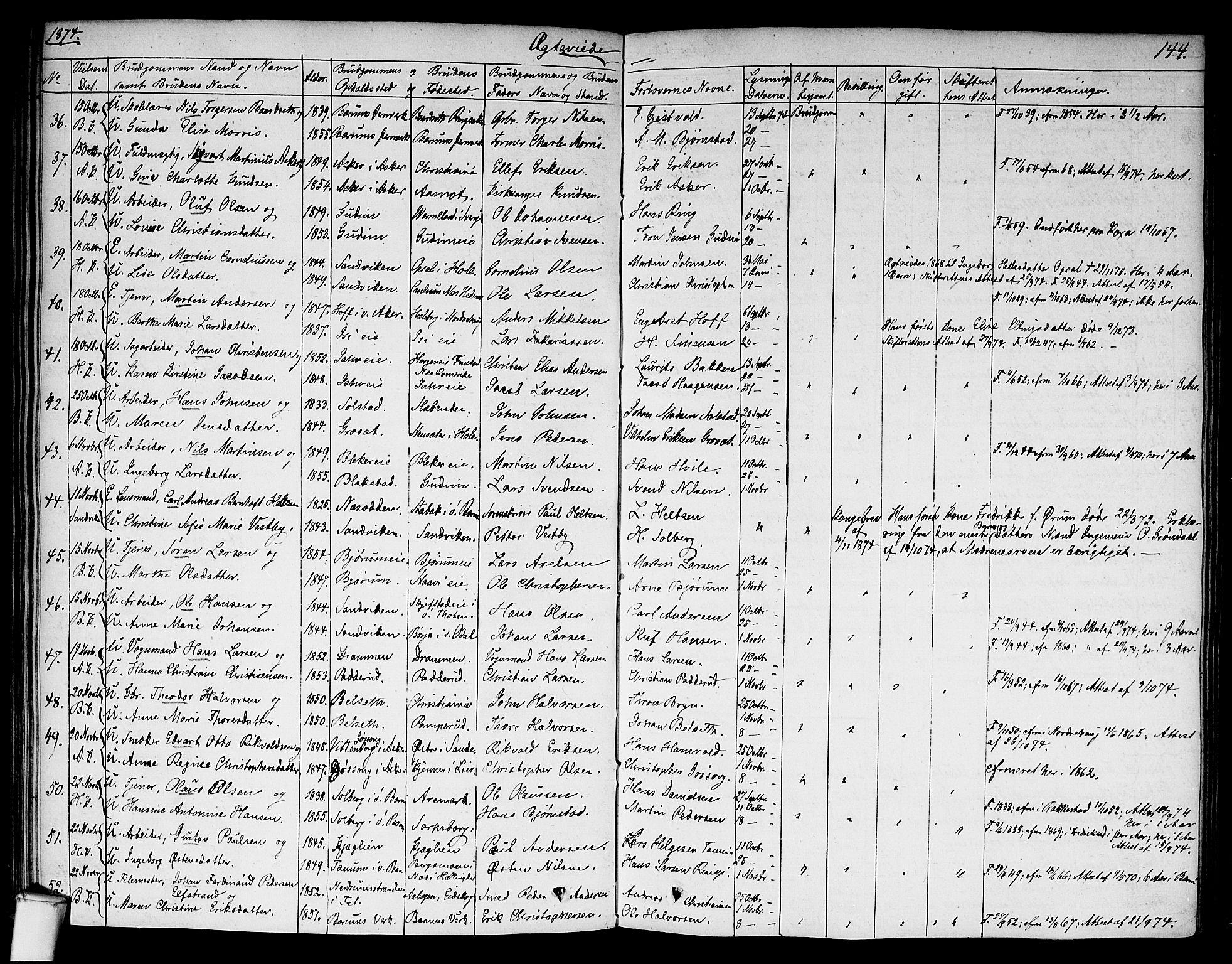 SAO, Asker prestekontor Kirkebøker, F/Fa/L0010: Ministerialbok nr. I 10, 1825-1878, s. 144