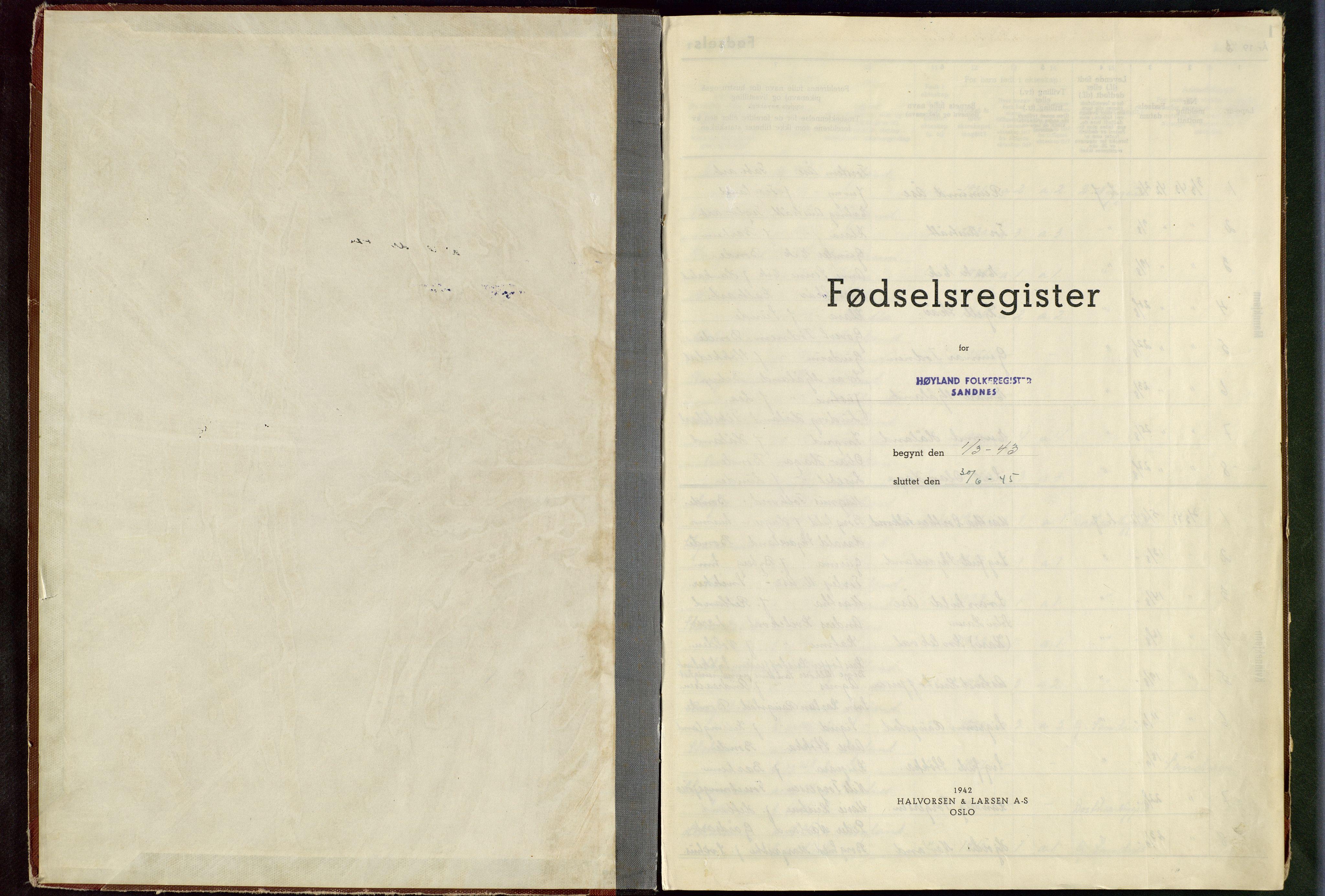 SAST, Høyland sokneprestkontor, O/L0004: Fødselsregister nr. 4, 1943-1945