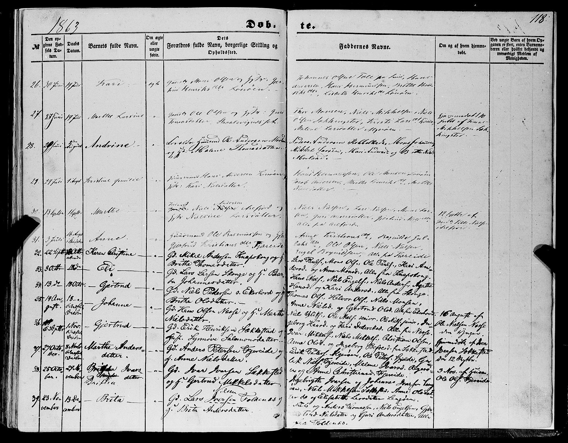 SAB, Fjell sokneprestembete, H/Haa: Ministerialbok nr. A 2, 1847-1864, s. 118