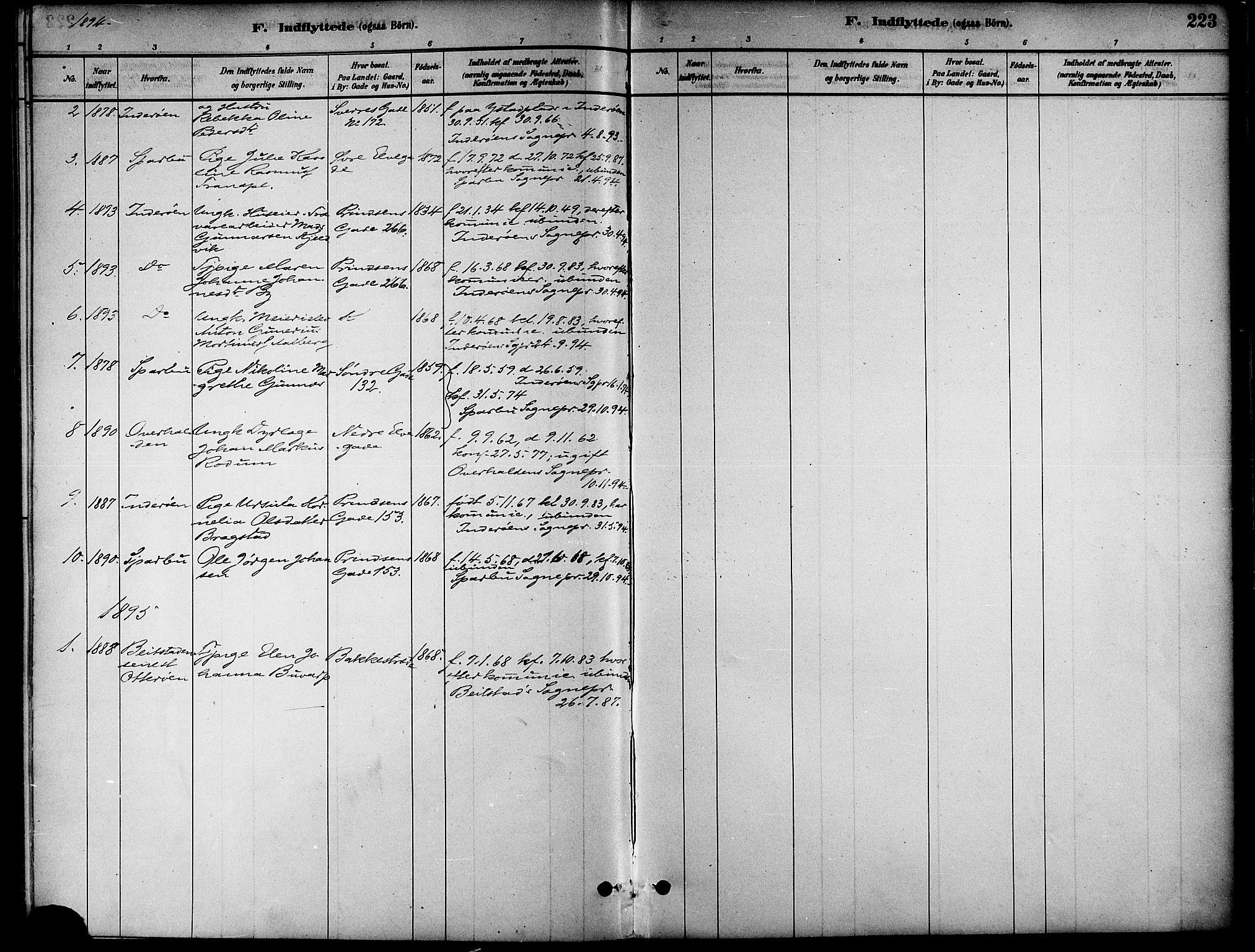 SAT, Ministerialprotokoller, klokkerbøker og fødselsregistre - Nord-Trøndelag, 739/L0371: Ministerialbok nr. 739A03, 1881-1895, s. 223