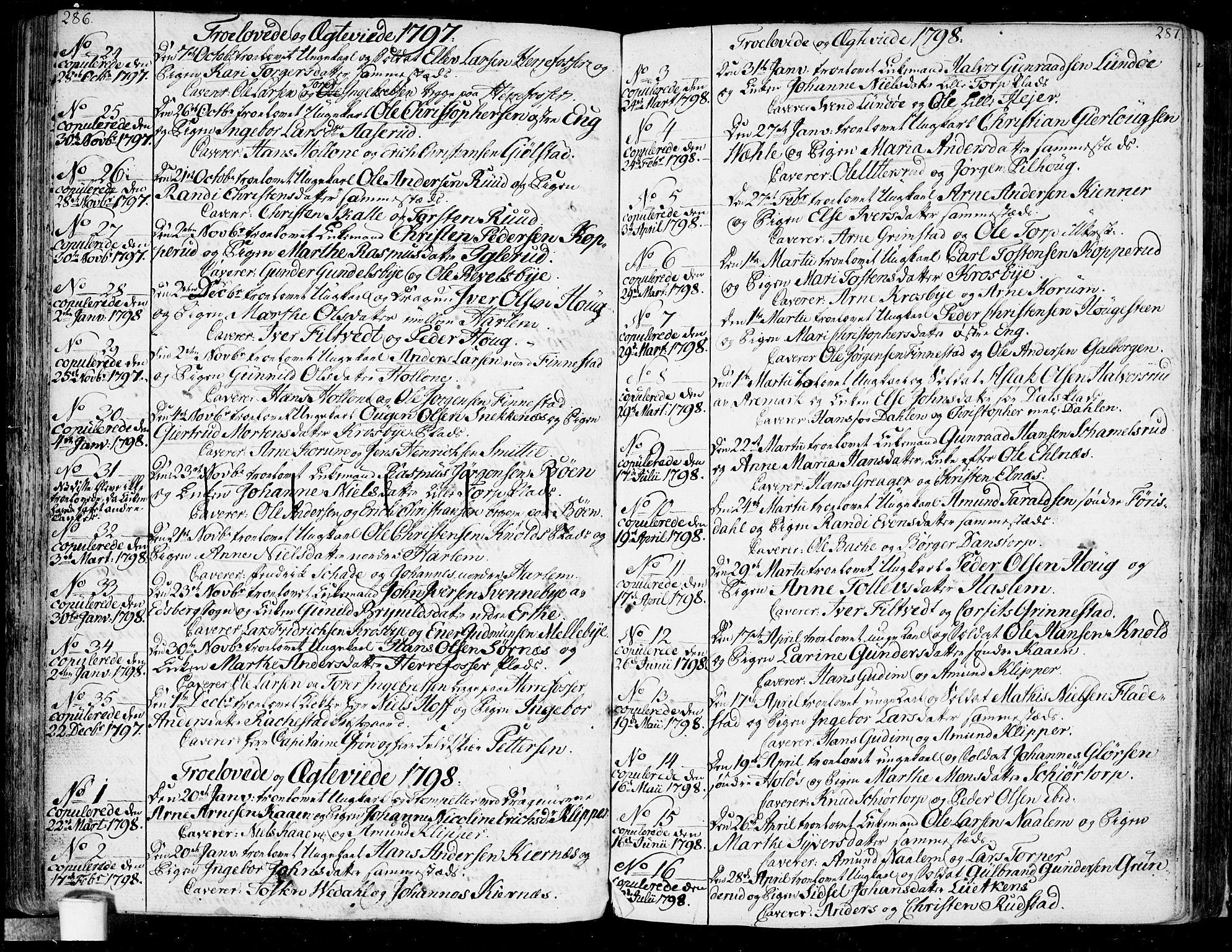 SAO, Rakkestad prestekontor Kirkebøker, F/Fa/L0005: Ministerialbok nr. I 5, 1784-1814, s. 286-287