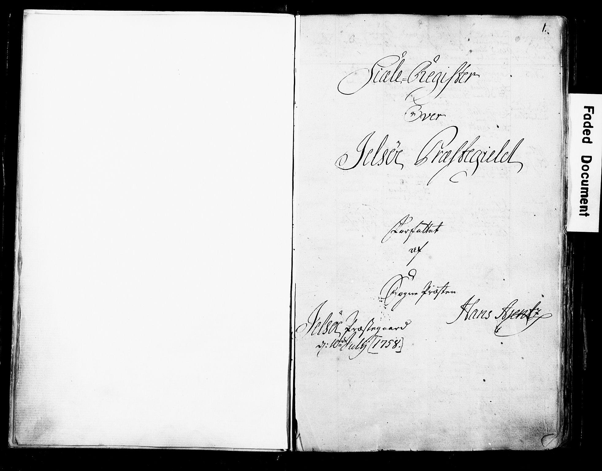 SAST, Fylkesmannen i Rogaland, 3/325/325CA/L0016: SJELEREGISTER RYFYLKE PRESTEGJELD, 1758, s. 1