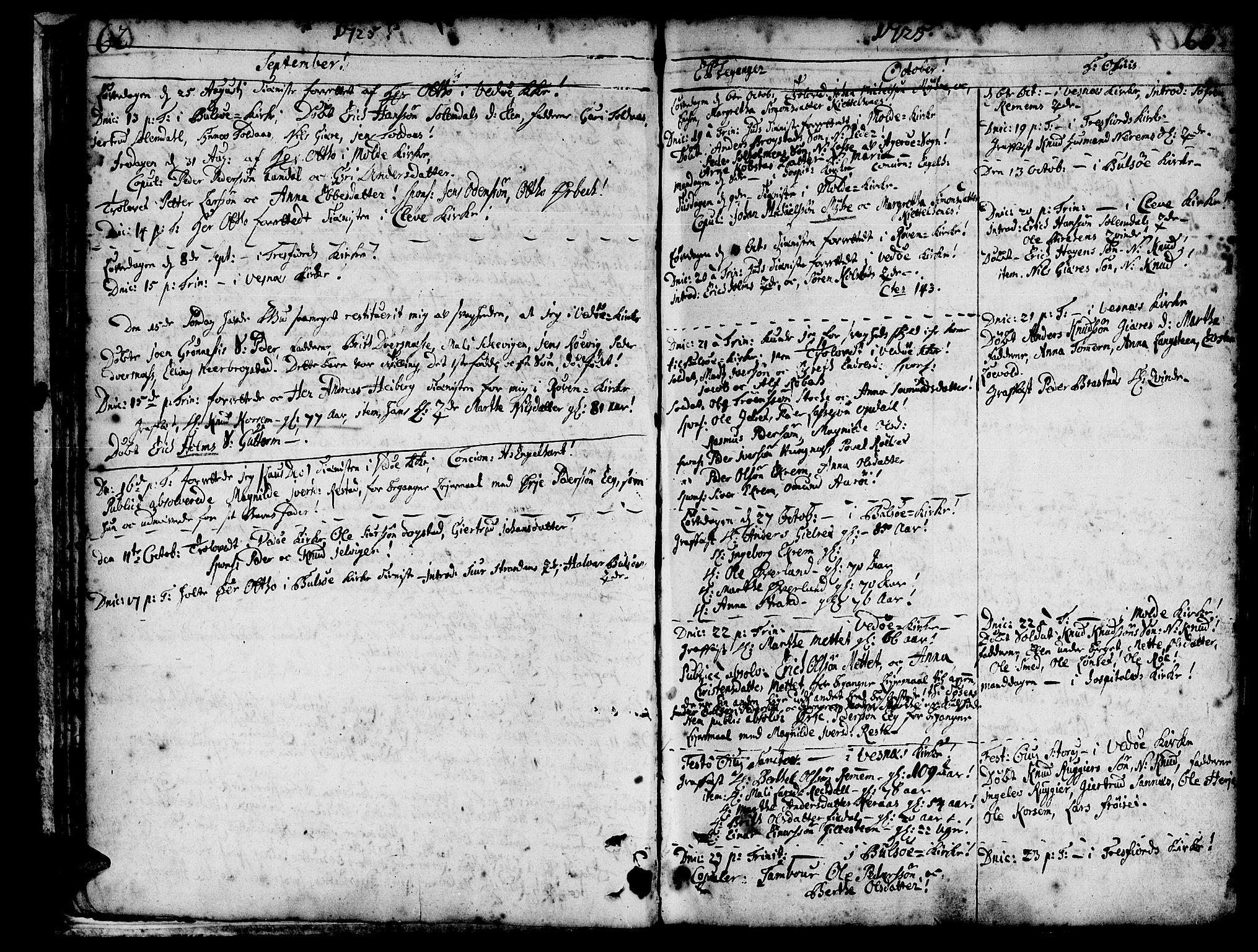 SAT, Ministerialprotokoller, klokkerbøker og fødselsregistre - Møre og Romsdal, 547/L0599: Ministerialbok nr. 547A01, 1721-1764, s. 64-65