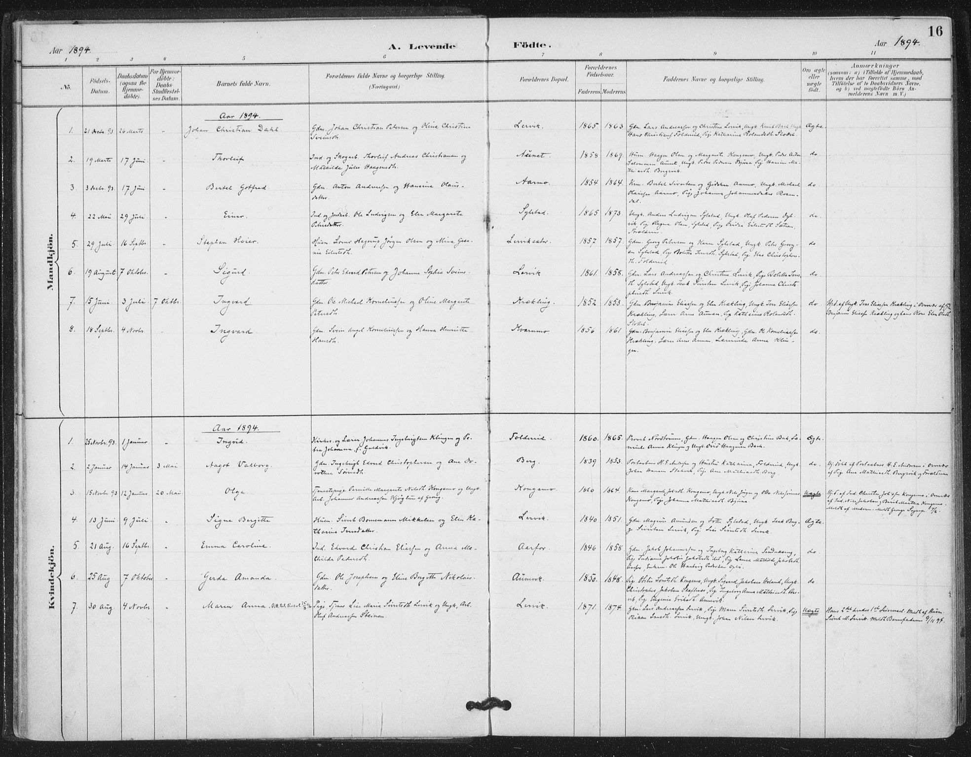 SAT, Ministerialprotokoller, klokkerbøker og fødselsregistre - Nord-Trøndelag, 783/L0660: Ministerialbok nr. 783A02, 1886-1918, s. 16