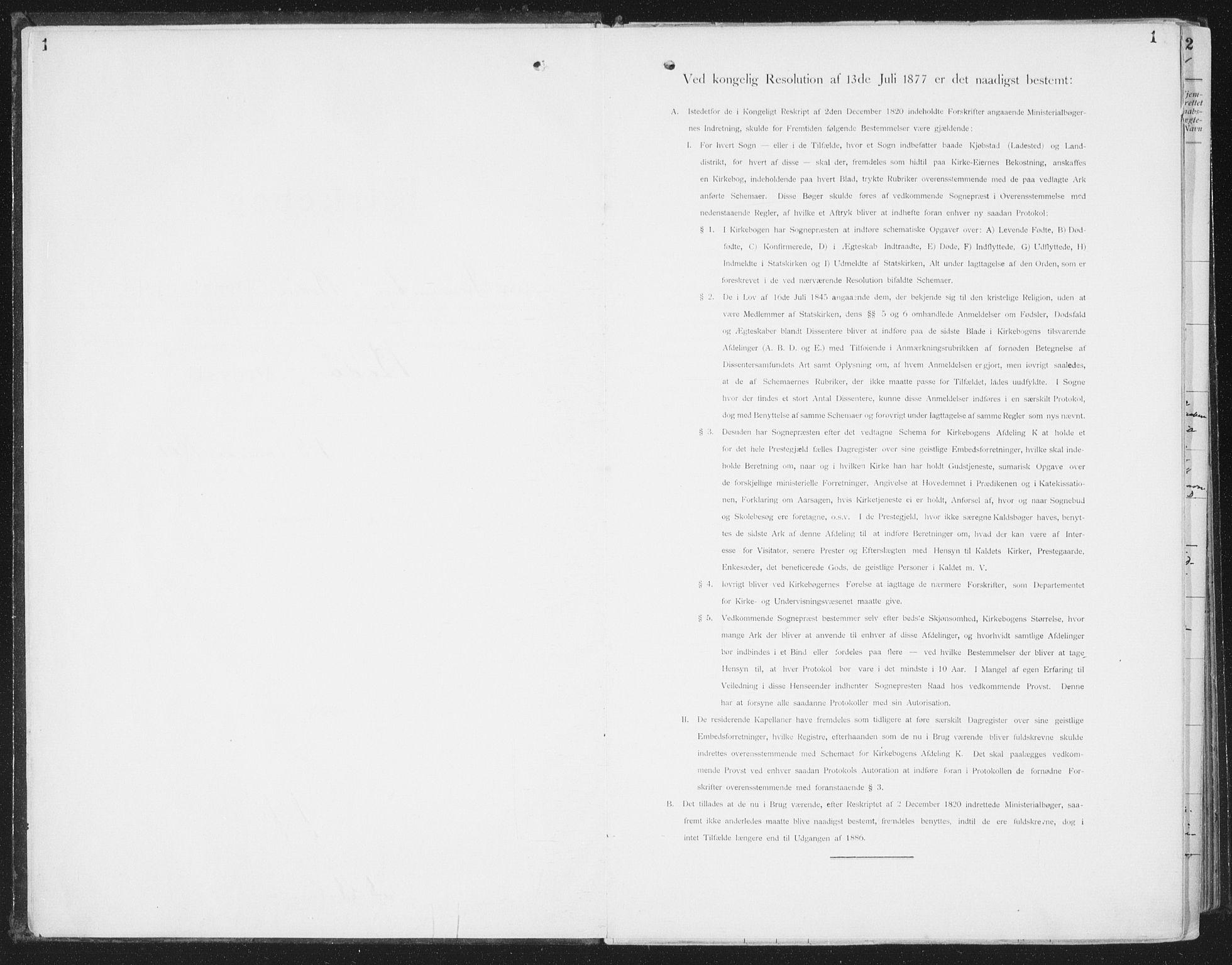 SAT, Ministerialprotokoller, klokkerbøker og fødselsregistre - Nordland, 804/L0081: Ministerialbok nr. 804A02, 1901-1915, s. 1
